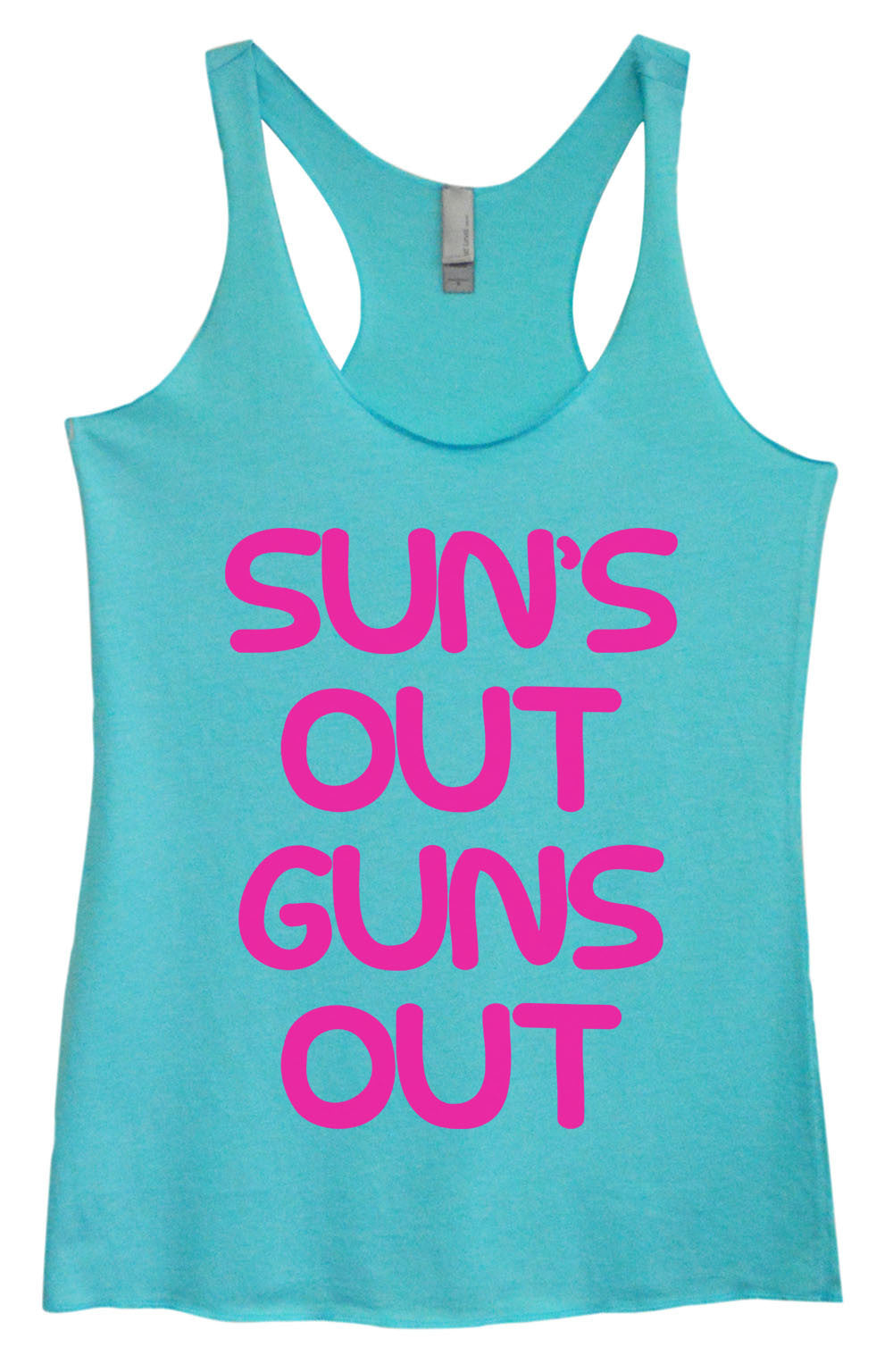 Womens Fashion Triblend Tank Top - Sun's Out Guns Out - Tri-743 - Funny Shirts Tank Tops Burnouts and Triblends  - 3