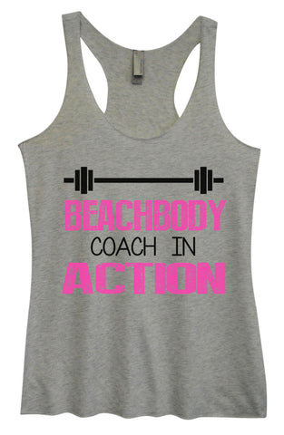 Womens Fashion Triblend Tank Top - Beachbody Coach In Action - Tri-752 - Funny Shirts Tank Tops Burnouts and Triblends  - 1