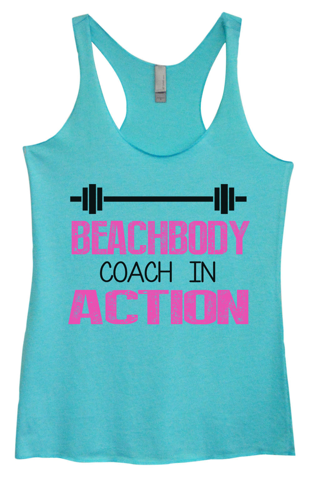 Womens Fashion Triblend Tank Top - Beachbody Coach In Action - Tri-752 - Funny Shirts Tank Tops Burnouts and Triblends  - 2