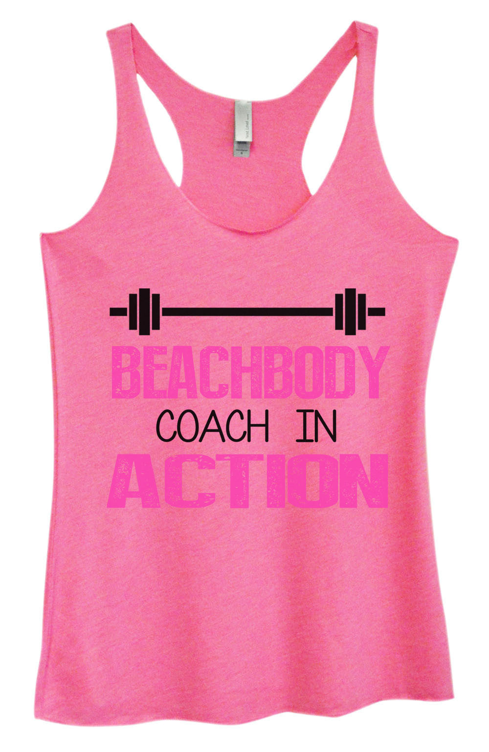 Womens Fashion Triblend Tank Top - Beachbody Coach In Action - Tri-752 - Funny Shirts Tank Tops Burnouts and Triblends  - 4