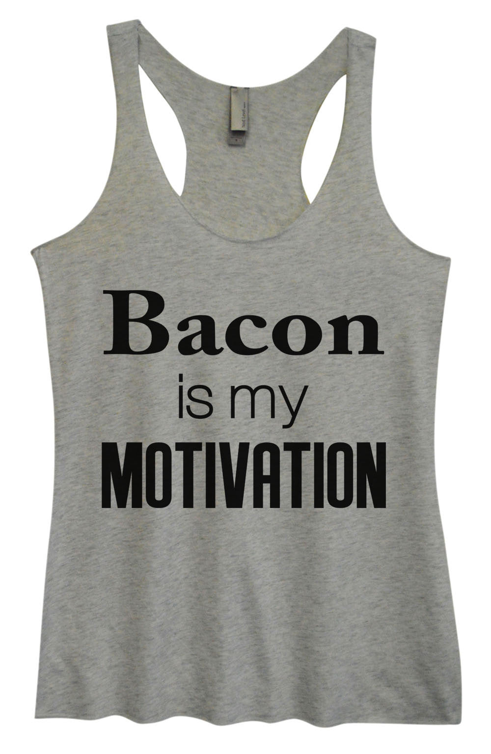 Womens Fashion Triblend Tank Top - Bacon Is My Motivation - Tri-761 - Funny Shirts Tank Tops Burnouts and Triblends  - 2