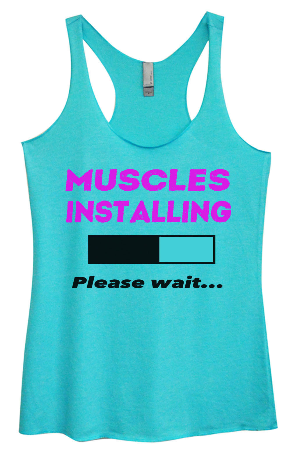 Womens Fashion Triblend Tank Top - Muscles Installing Please Wait... - Tri-762 - Funny Shirts Tank Tops Burnouts and Triblends  - 4