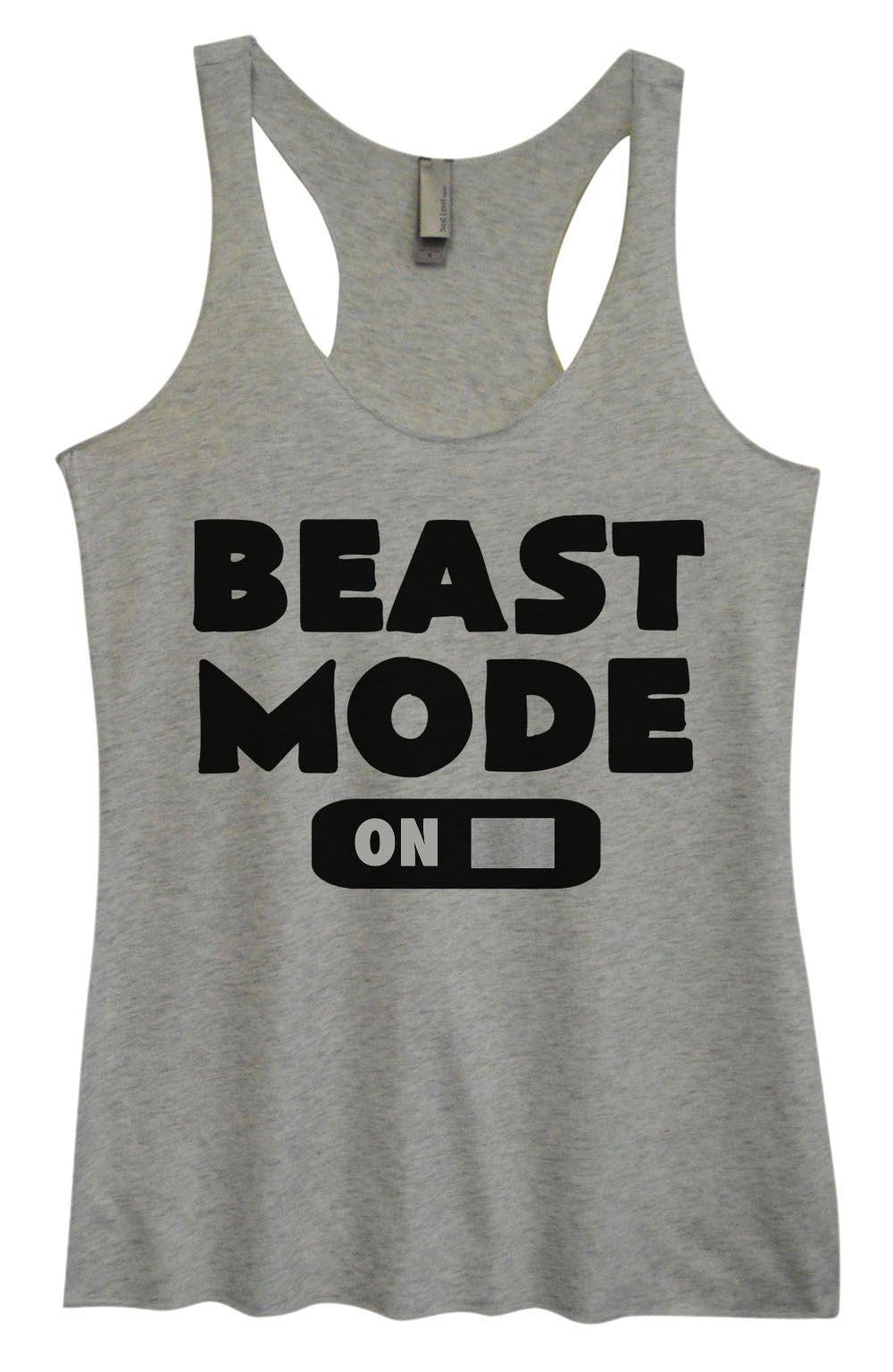 Womens Fashion Triblend Tank Top - Beast Mode On - Tri-764 - Funny Shirts Tank Tops Burnouts and Triblends  - 2