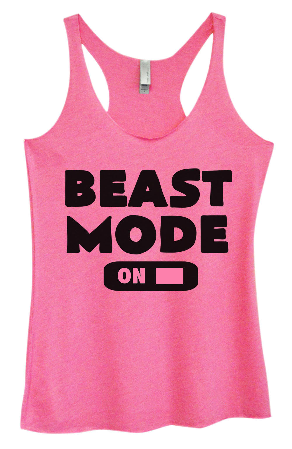 Womens Fashion Triblend Tank Top - Beast Mode On - Tri-764 - Funny Shirts Tank Tops Burnouts and Triblends  - 3