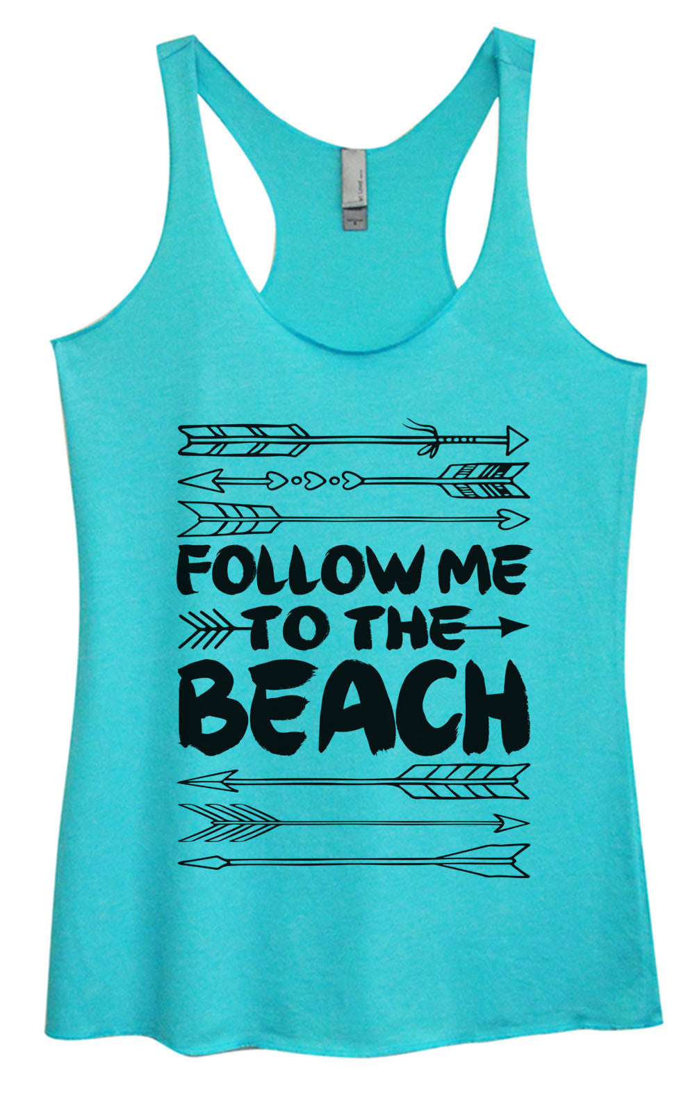 Womens Fashion Triblend Tank Top - Follow Me To The Beach - Tri-931 - Funny Shirts Tank Tops Burnouts and Triblends  - 4