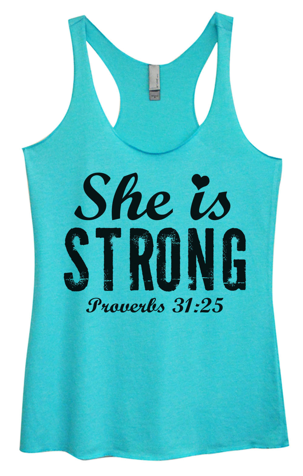 Womens Fashion Triblend Tank Top - She Is Strong Proverbs 31:25 - Tri-939 - Funny Shirts Tank Tops Burnouts and Triblends  - 2