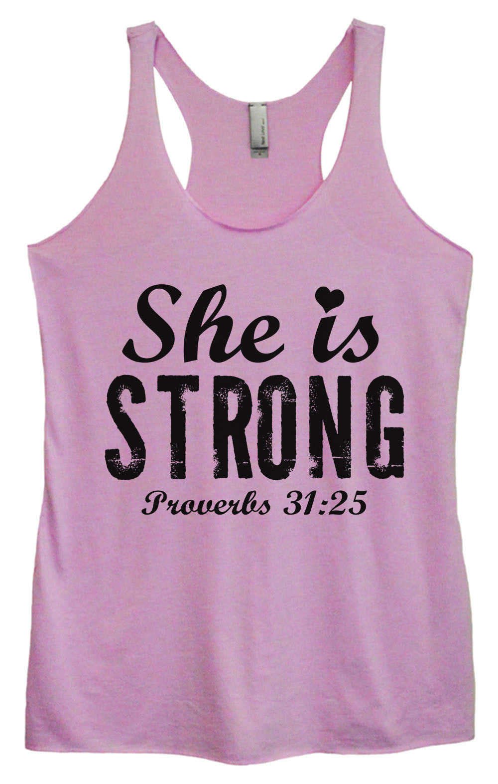 Womens Fashion Triblend Tank Top - She Is Strong Proverbs 31:25 - Tri-939 - Funny Shirts Tank Tops Burnouts and Triblends  - 3