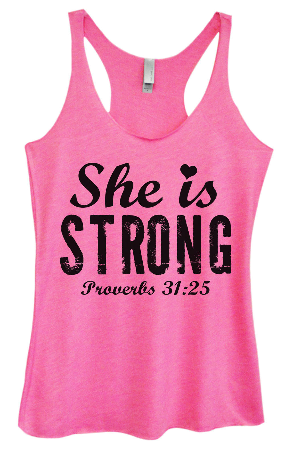 Womens Fashion Triblend Tank Top - She Is Strong Proverbs 31:25 - Tri-939 - Funny Shirts Tank Tops Burnouts and Triblends  - 4
