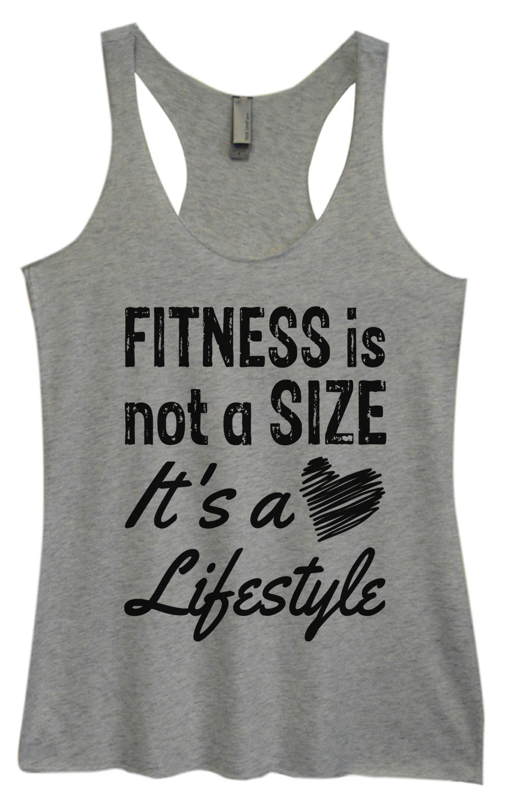 Womens Fashion Triblend Tank Top - Fitness Is Not A Size It's A Lifestyle - Tri-945 - Funny Shirts Tank Tops Burnouts and Triblends  - 2