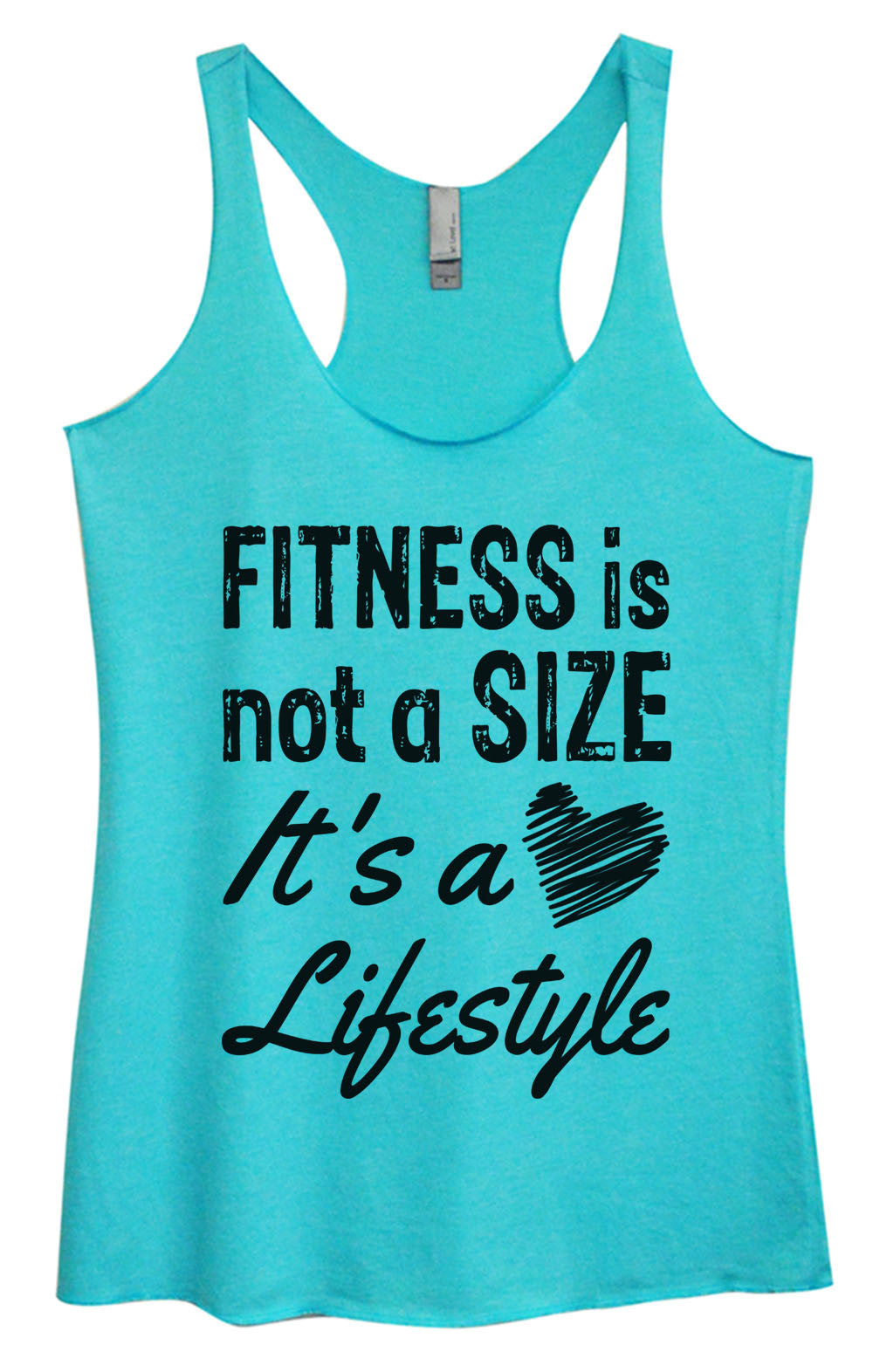 Womens Fashion Triblend Tank Top - Fitness Is Not A Size It's A Lifestyle - Tri-945 - Funny Shirts Tank Tops Burnouts and Triblends  - 4