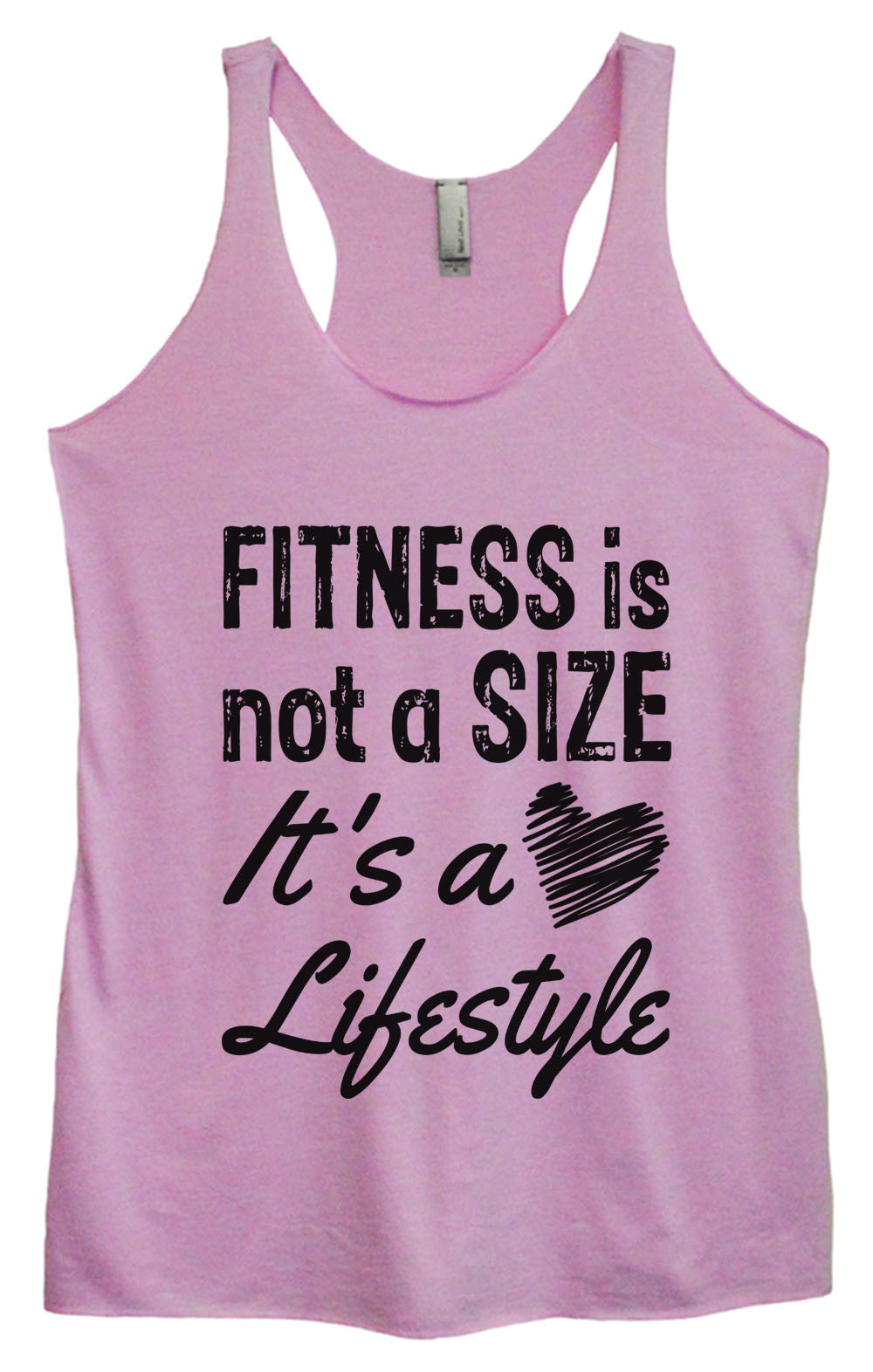 Womens Fashion Triblend Tank Top - Fitness Is Not A Size It's A Lifestyle - Tri-945 - Funny Shirts Tank Tops Burnouts and Triblends  - 3