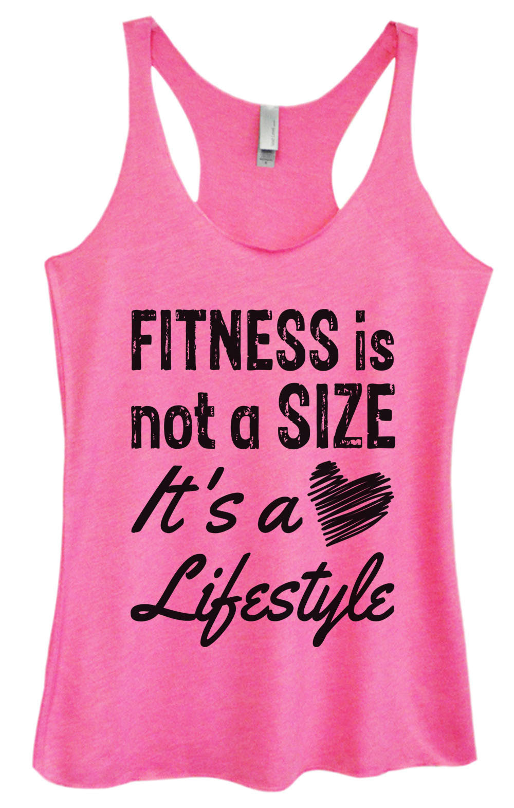 Womens Fashion Triblend Tank Top - Fitness Is Not A Size It's A Lifestyle - Tri-945 - Funny Shirts Tank Tops Burnouts and Triblends  - 1