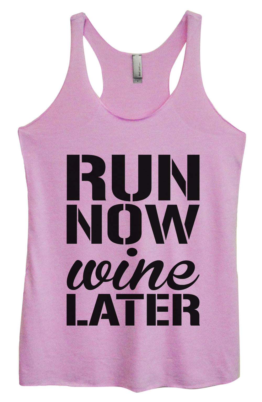 Womens Fashion Triblend Tank Top - Run Now Wine Later - Tri-951 - Funny Shirts Tank Tops Burnouts and Triblends  - 4