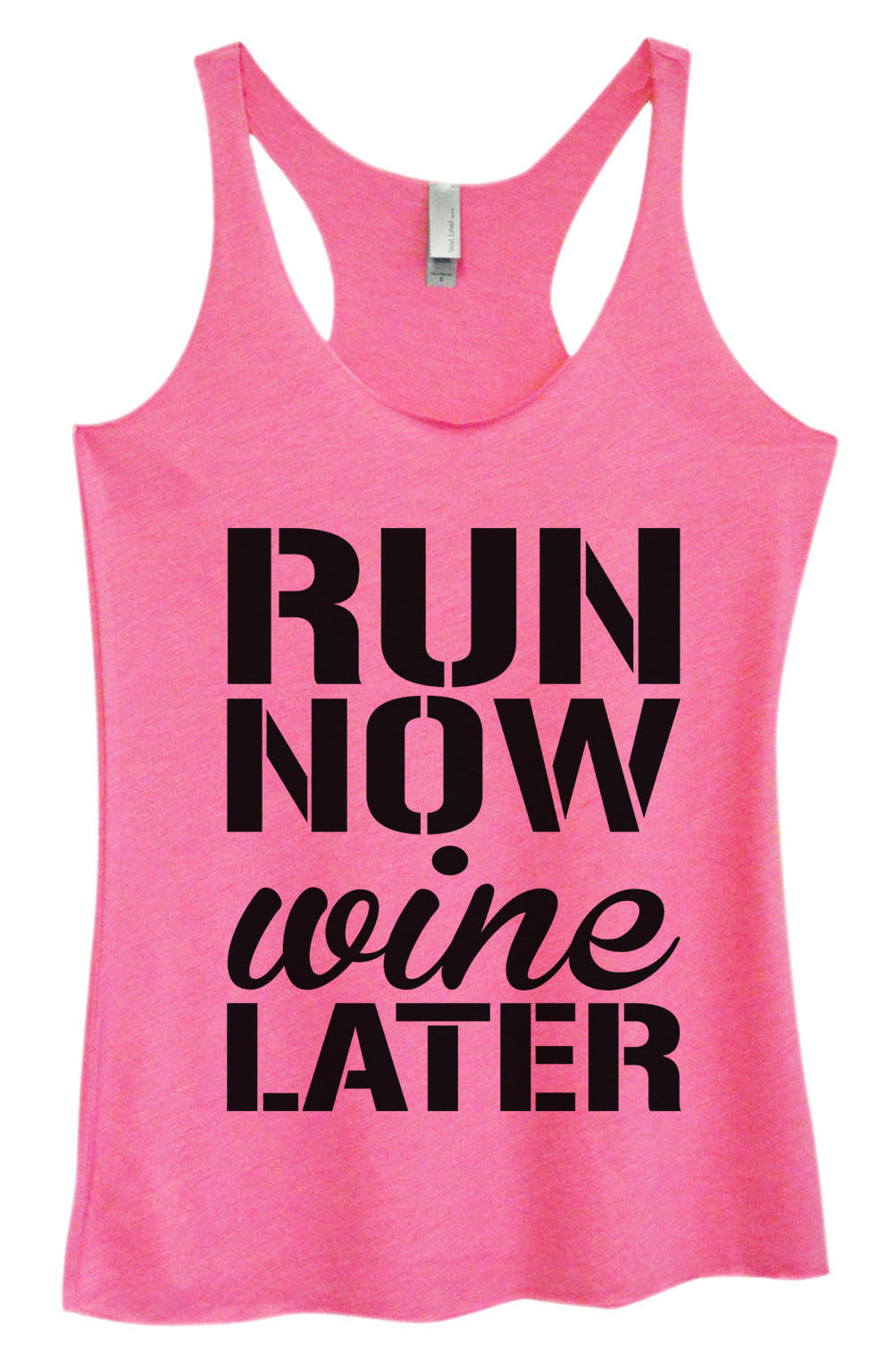 Womens Fashion Triblend Tank Top - Run Now Wine Later - Tri-951 - Funny Shirts Tank Tops Burnouts and Triblends  - 3