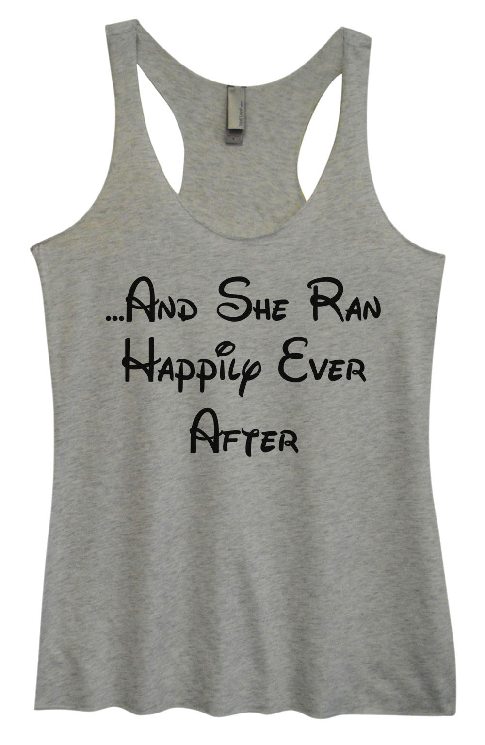 Womens Fashion Triblend Tank Top - ...And She Ran Happily Ever After - Tri-954 - Funny Shirts Tank Tops Burnouts and Triblends  - 2