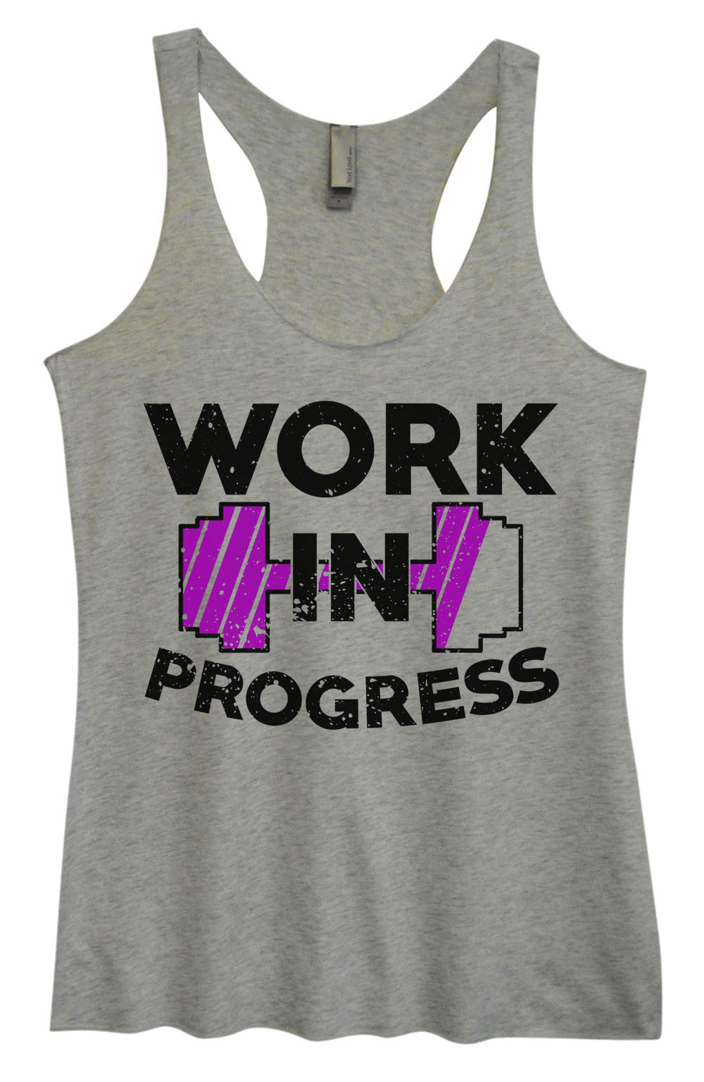 Womens Fashion Triblend Tank Top - Work In Progress - Tri-962 - Funny Shirts Tank Tops Burnouts and Triblends  - 2