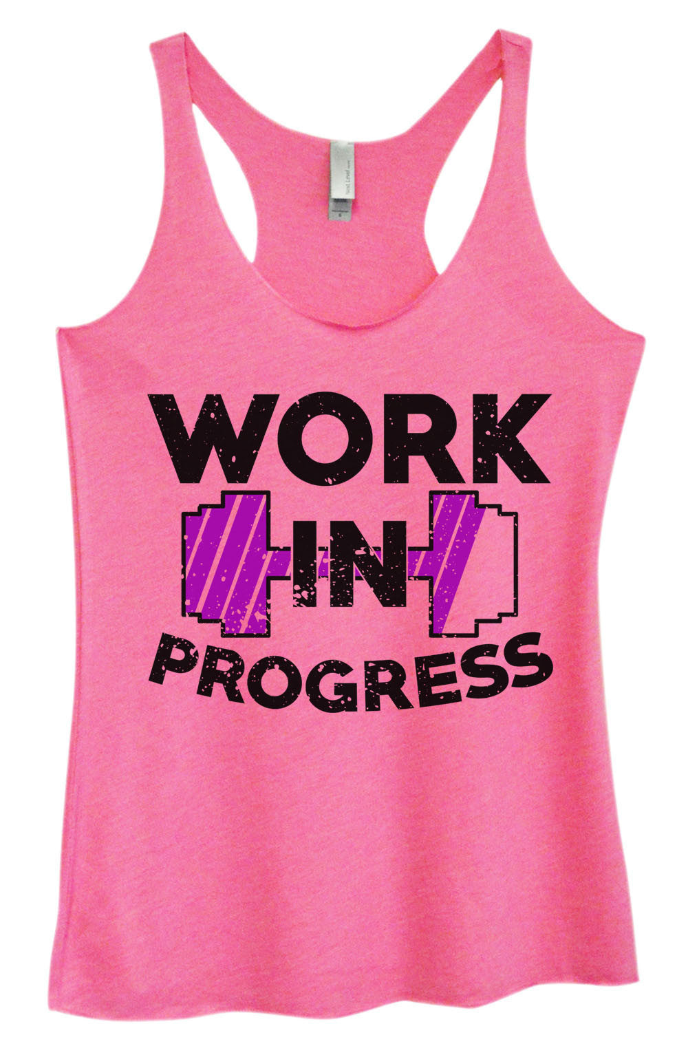 Womens Fashion Triblend Tank Top - Work In Progress - Tri-962 - Funny Shirts Tank Tops Burnouts and Triblends  - 3