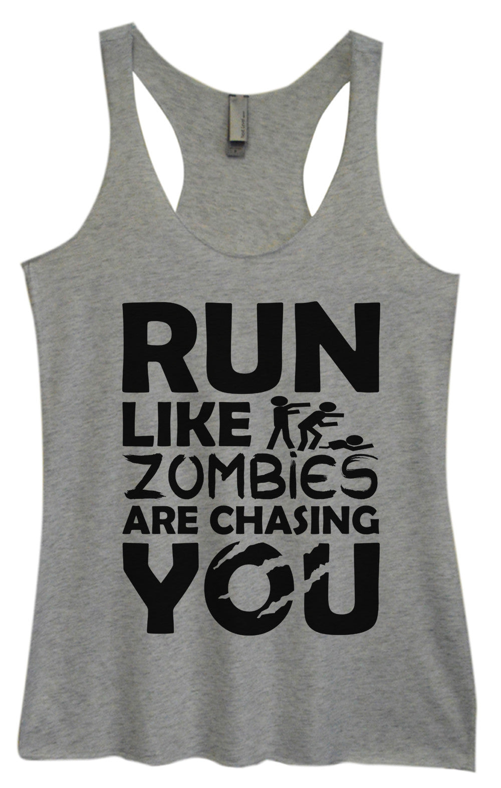 Womens Fashion Triblend Tank Top - Run Like Zombies Are Chasing You - Tri-976 - Funny Shirts Tank Tops Burnouts and Triblends  - 1