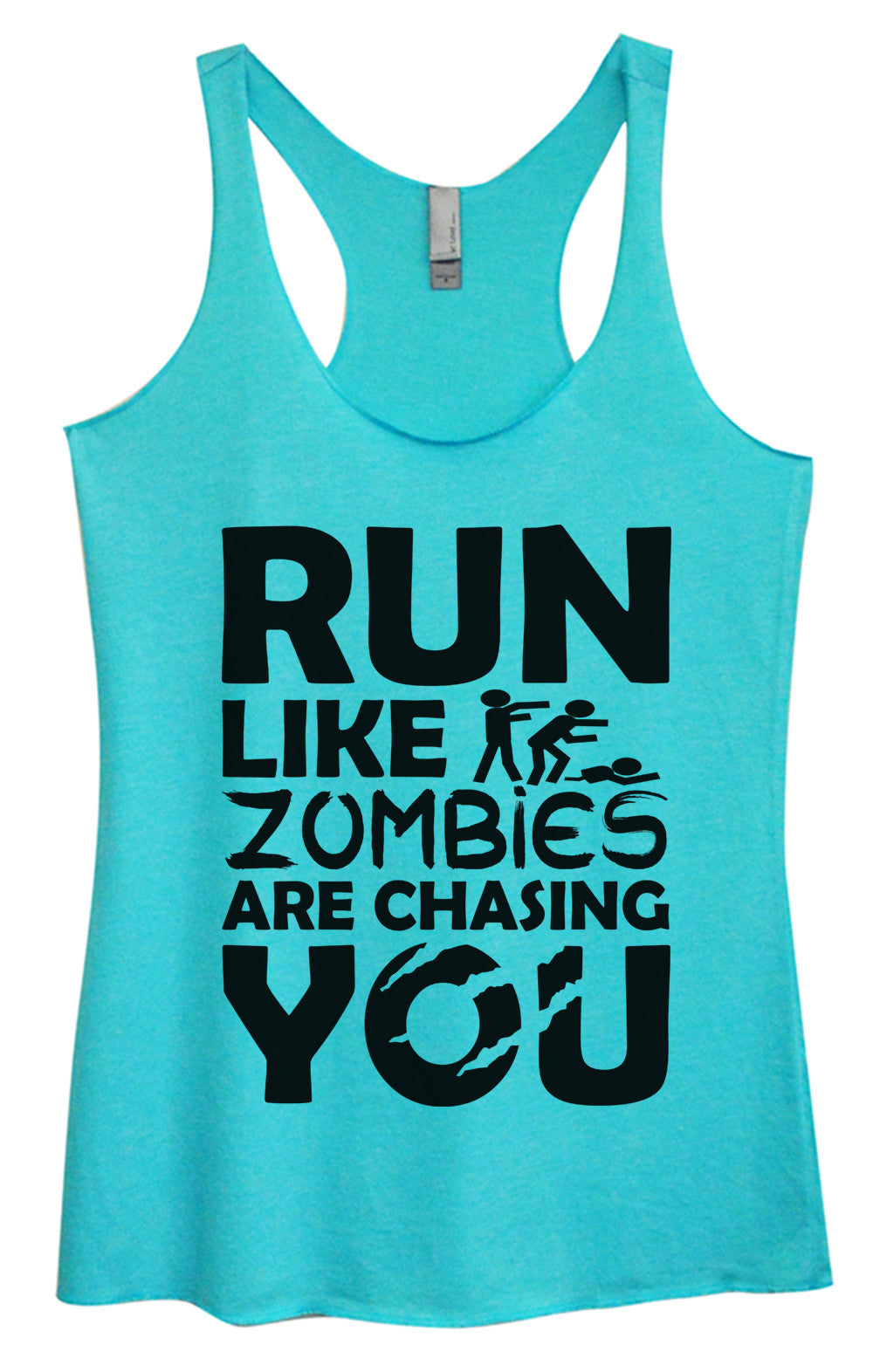 Womens Fashion Triblend Tank Top - Run Like Zombies Are Chasing You - Tri-976 - Funny Shirts Tank Tops Burnouts and Triblends  - 2