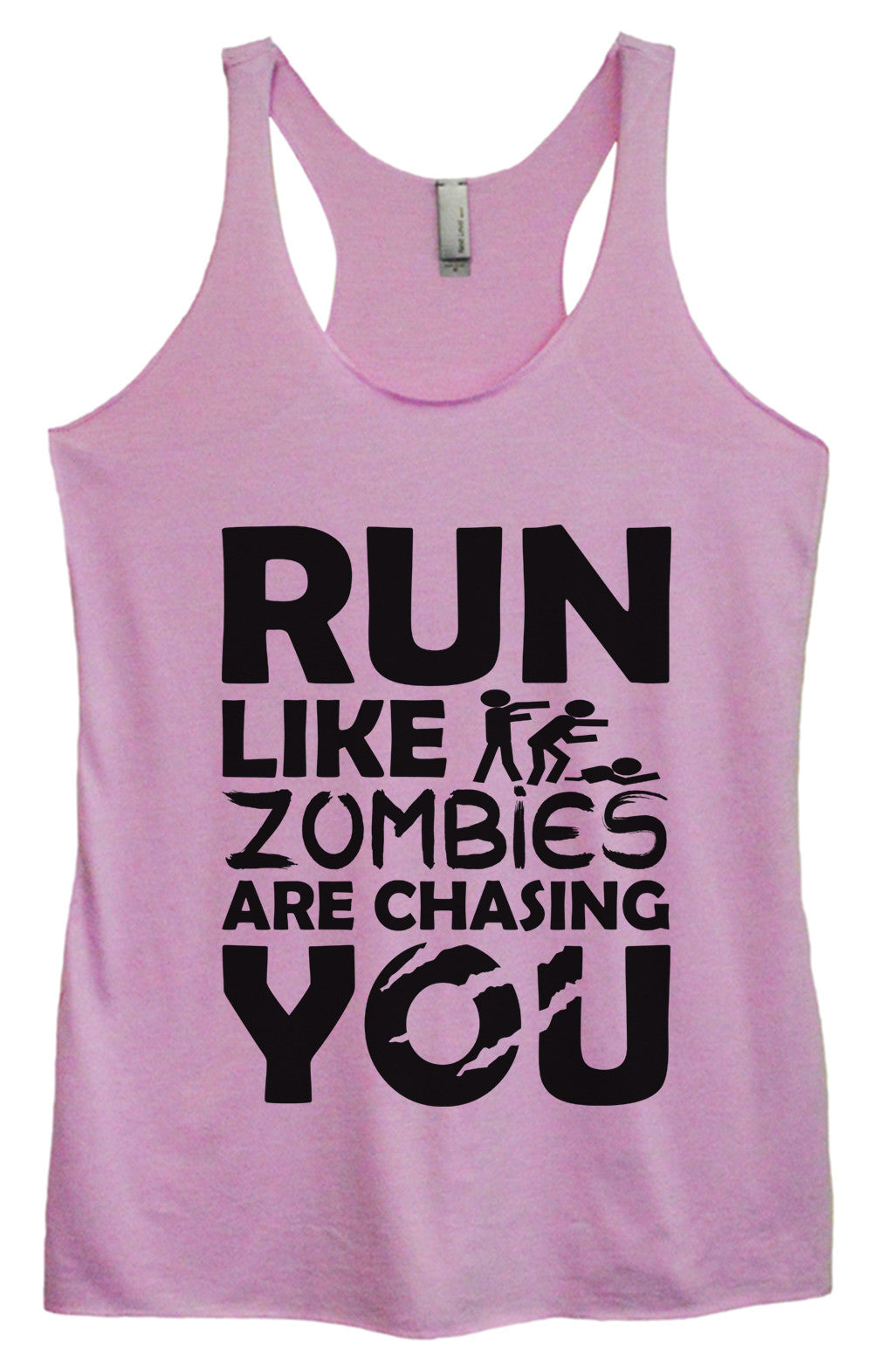 Womens Fashion Triblend Tank Top - Run Like Zombies Are Chasing You - Tri-976 - Funny Shirts Tank Tops Burnouts and Triblends  - 3