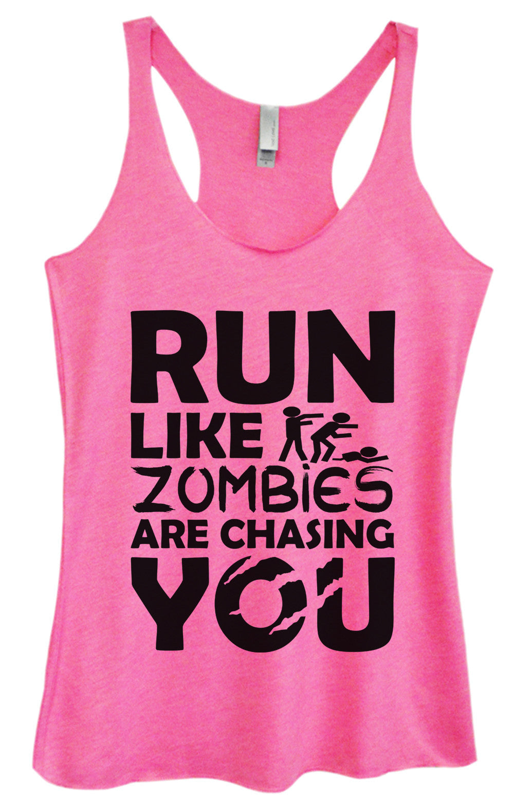 Womens Fashion Triblend Tank Top - Run Like Zombies Are Chasing You - Tri-976 - Funny Shirts Tank Tops Burnouts and Triblends  - 4
