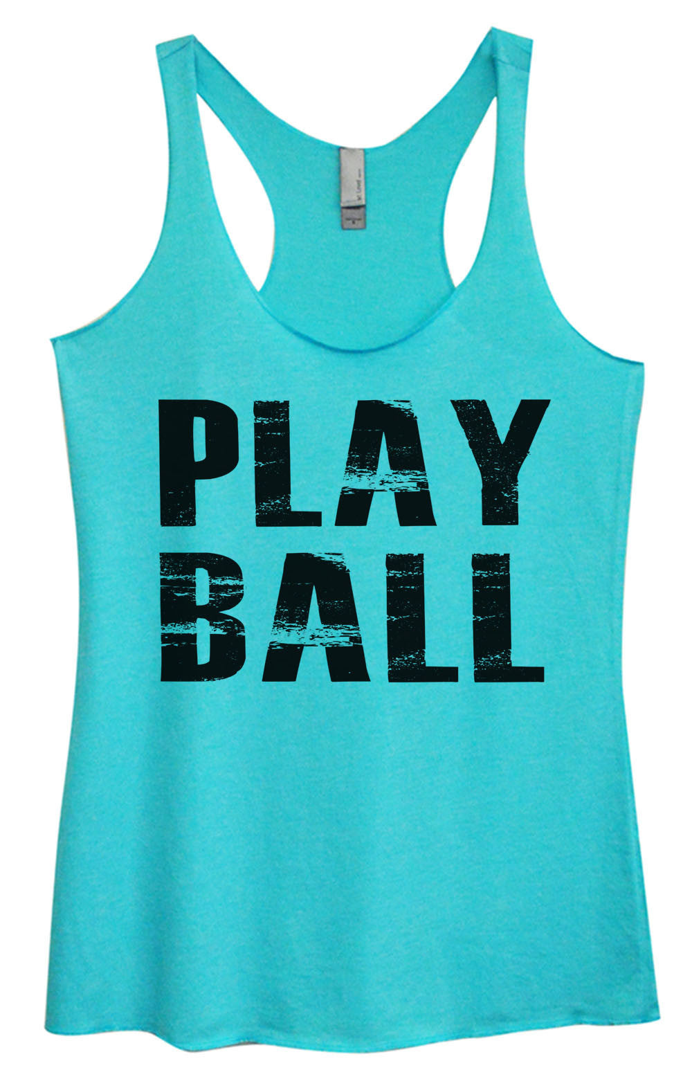 Womens Fashion Triblend Tank Top - Play Ball - Tri-992 - Funny Shirts Tank Tops Burnouts and Triblends  - 1