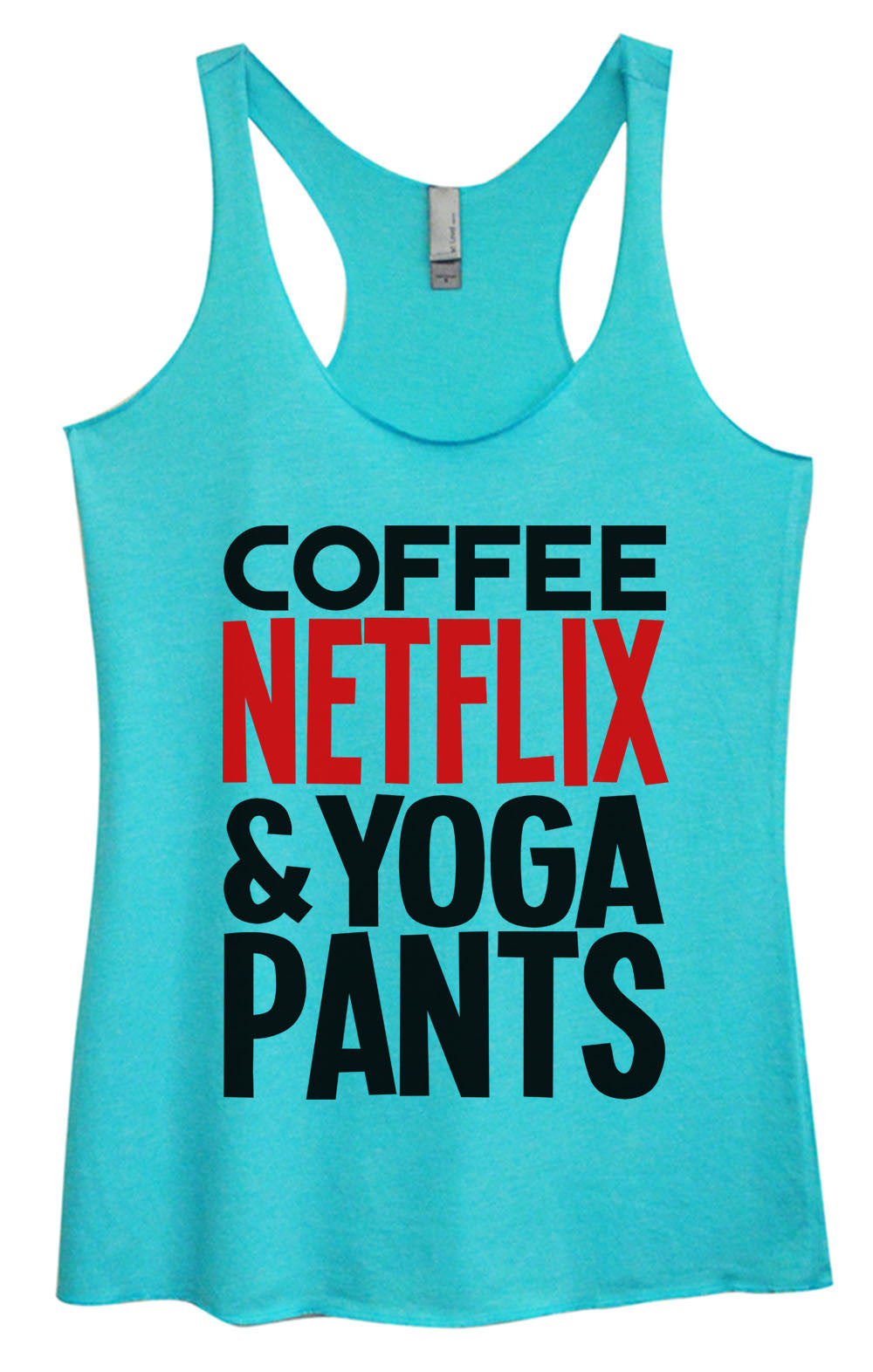 Womens Fashion Triblend Tank Top - Coffee Netflix & Yoga Pants - Tri-995 - Funny Shirts Tank Tops Burnouts and Triblends  - 3