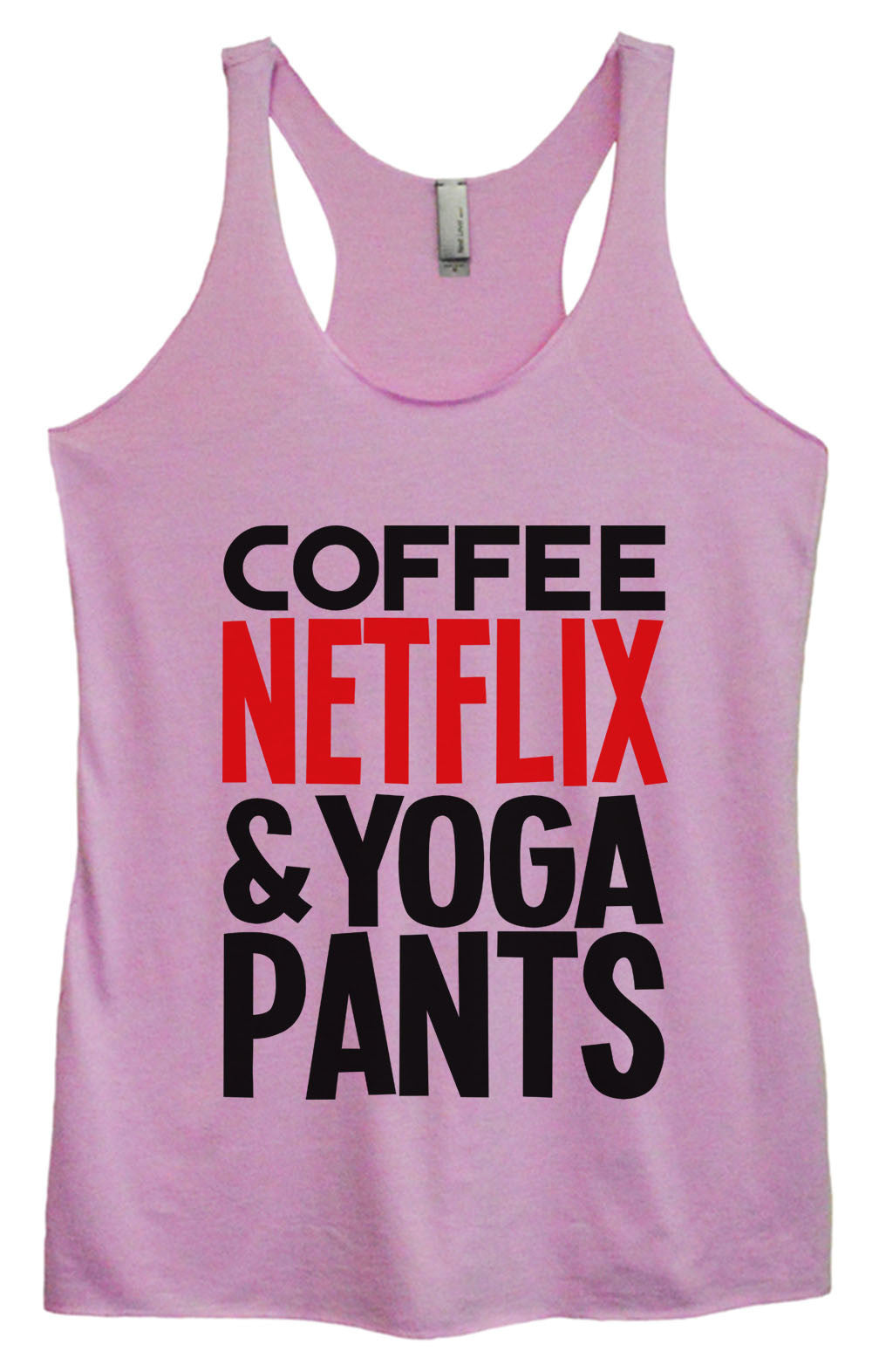 Womens Fashion Triblend Tank Top - Coffee Netflix & Yoga Pants - Tri-995 - Funny Shirts Tank Tops Burnouts and Triblends  - 1
