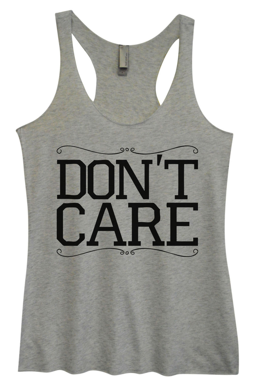 Womens Fashion Triblend Tank Top - Don't Care - Tri-999 - Funny Shirts Tank Tops Burnouts and Triblends  - 2