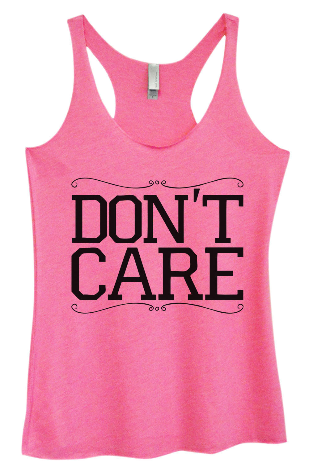 Womens Fashion Triblend Tank Top - Don't Care - Tri-999 - Funny Shirts Tank Tops Burnouts and Triblends  - 3