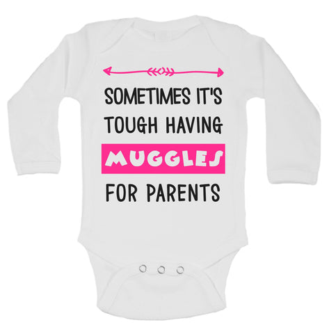Sometimes It's Tough Having Muggles For Parents Funny Kids Onesie - B102 - Funny Shirts Tank Tops Burnouts and Triblends  - 1