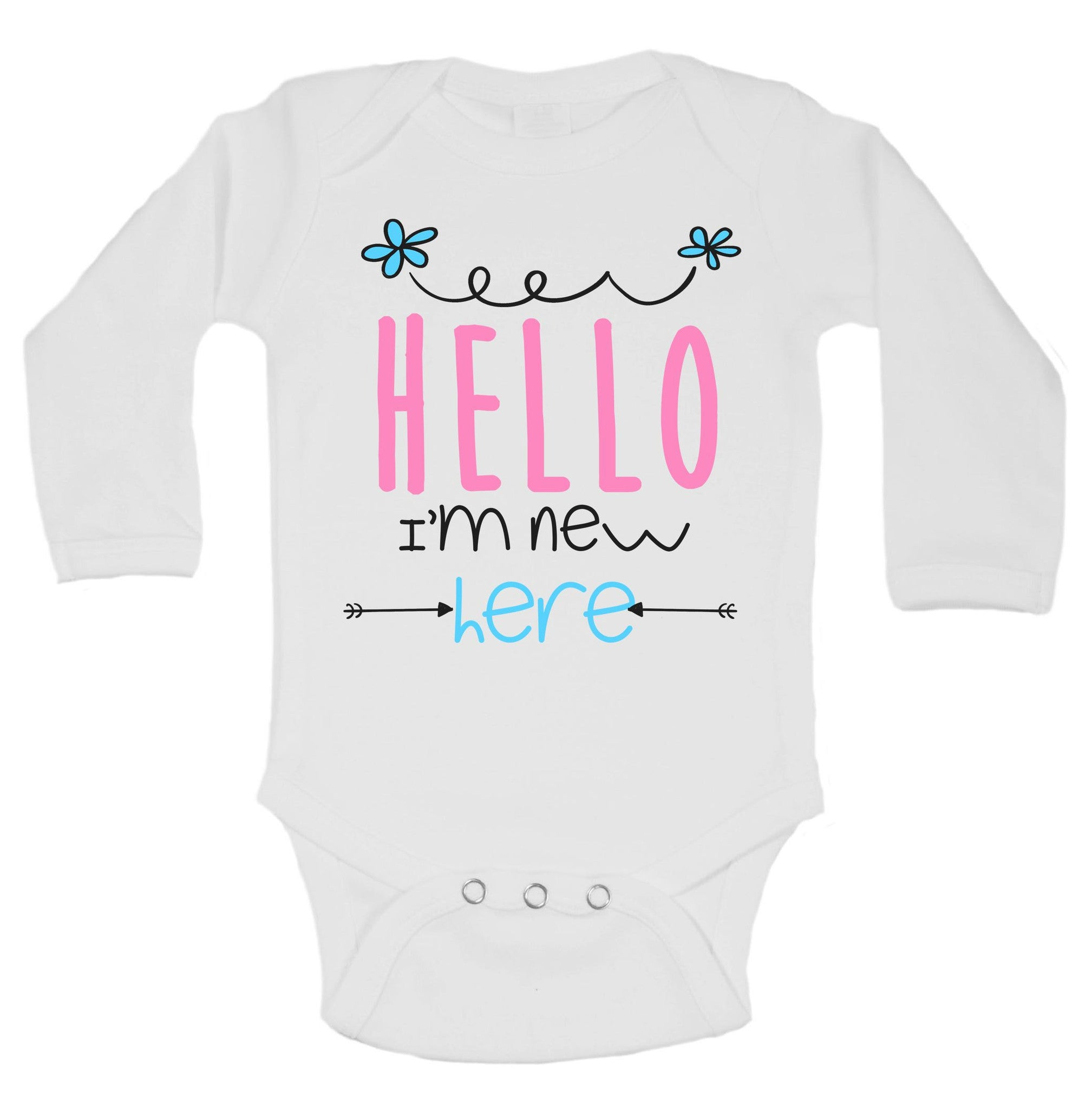 Hello I'm New Here Funny Kids Onesie - B113 - Funny Shirts Tank Tops Burnouts and Triblends  - 1