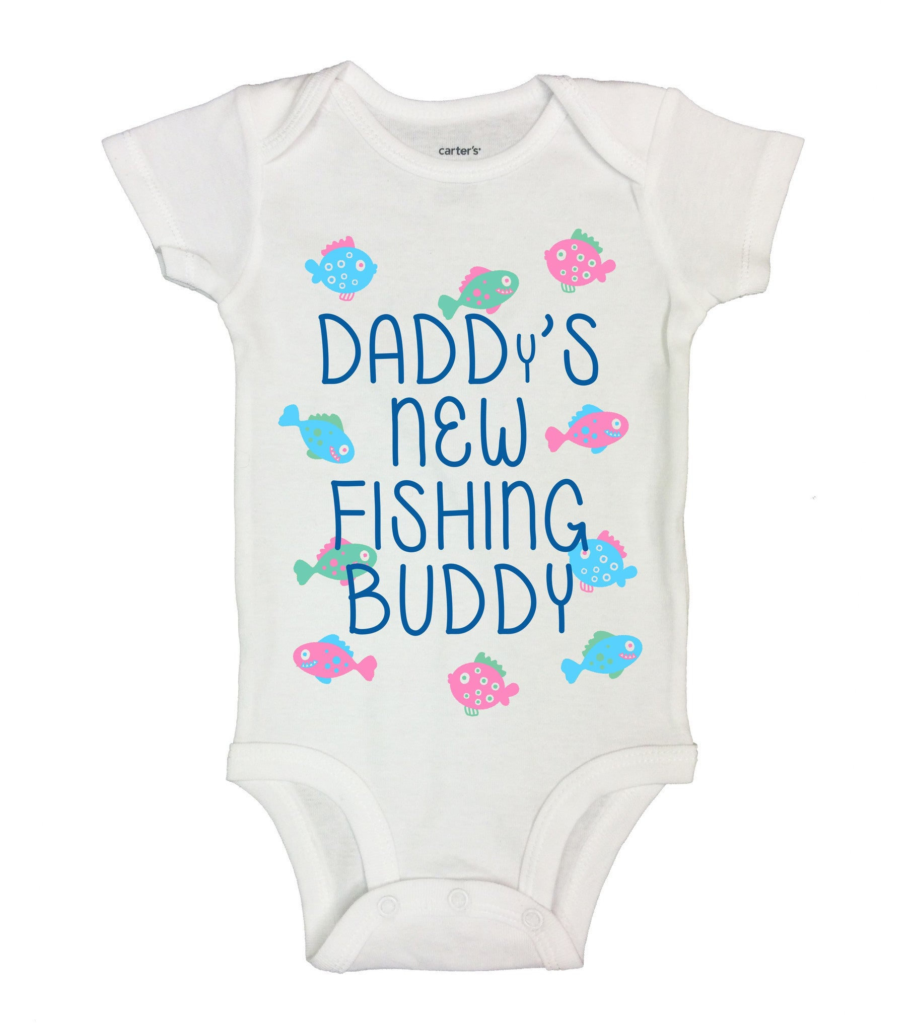 Daddy's New Fishing Buddy Funny Kids Onesie - B130 - Funny Shirts Tank Tops Burnouts and Triblends  - 2