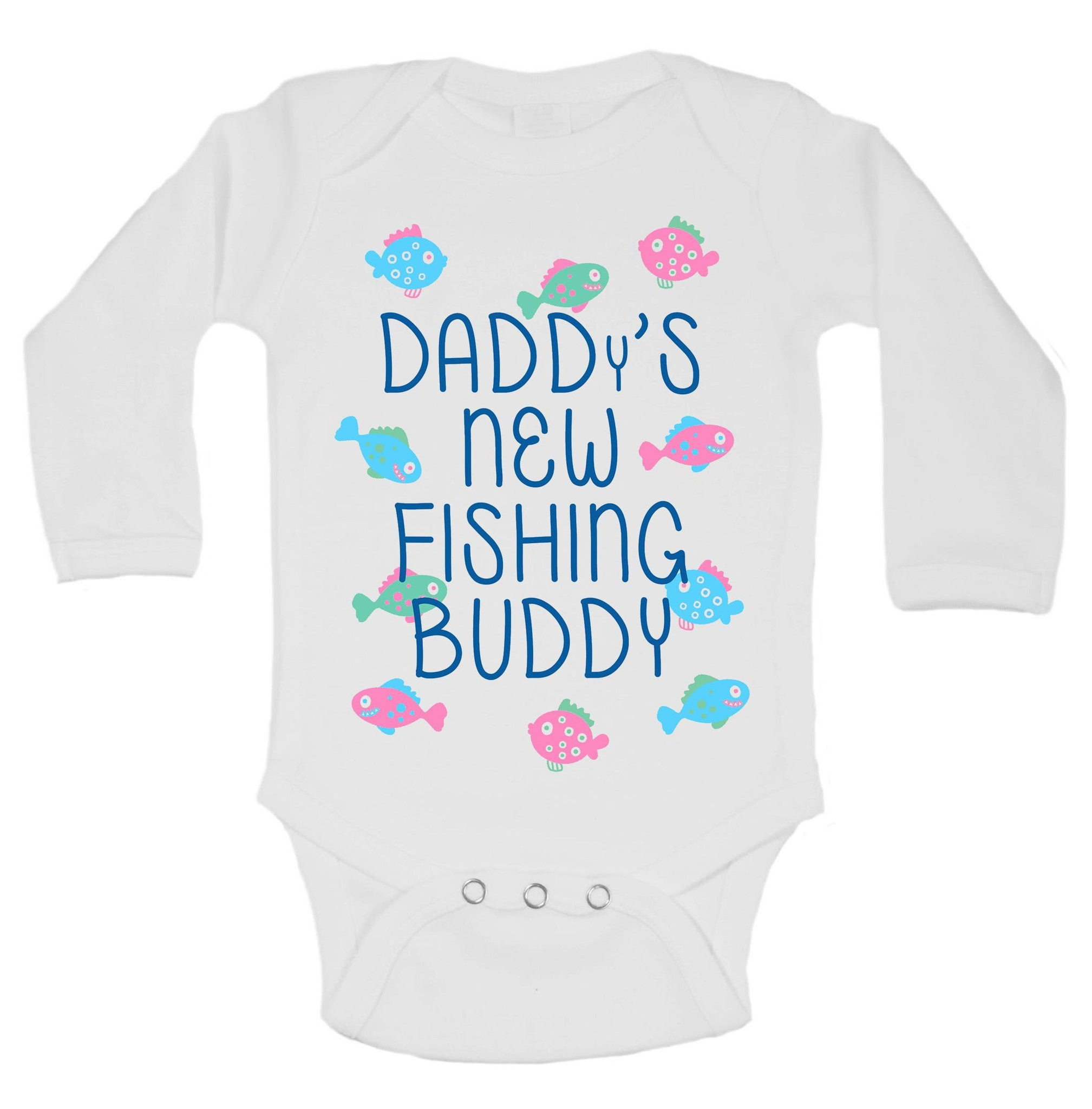Daddy's New Fishing Buddy Funny Kids Onesie - B130 - Funny Shirts Tank Tops Burnouts and Triblends  - 1