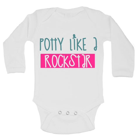 Potty Like A Rockstar Funny Kids Onesie - B138 - Funny Shirts Tank Tops Burnouts and Triblends  - 1