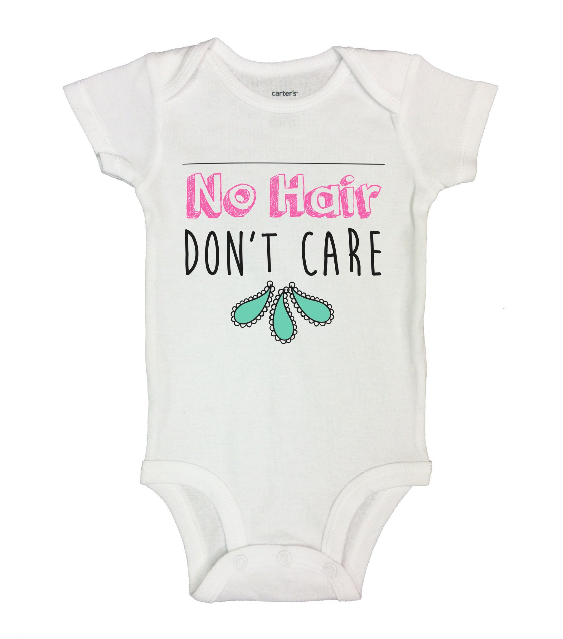No Hair Don't Care Funny Kids Onesie - B147 - Funny Shirts Tank Tops Burnouts and Triblends  - 2