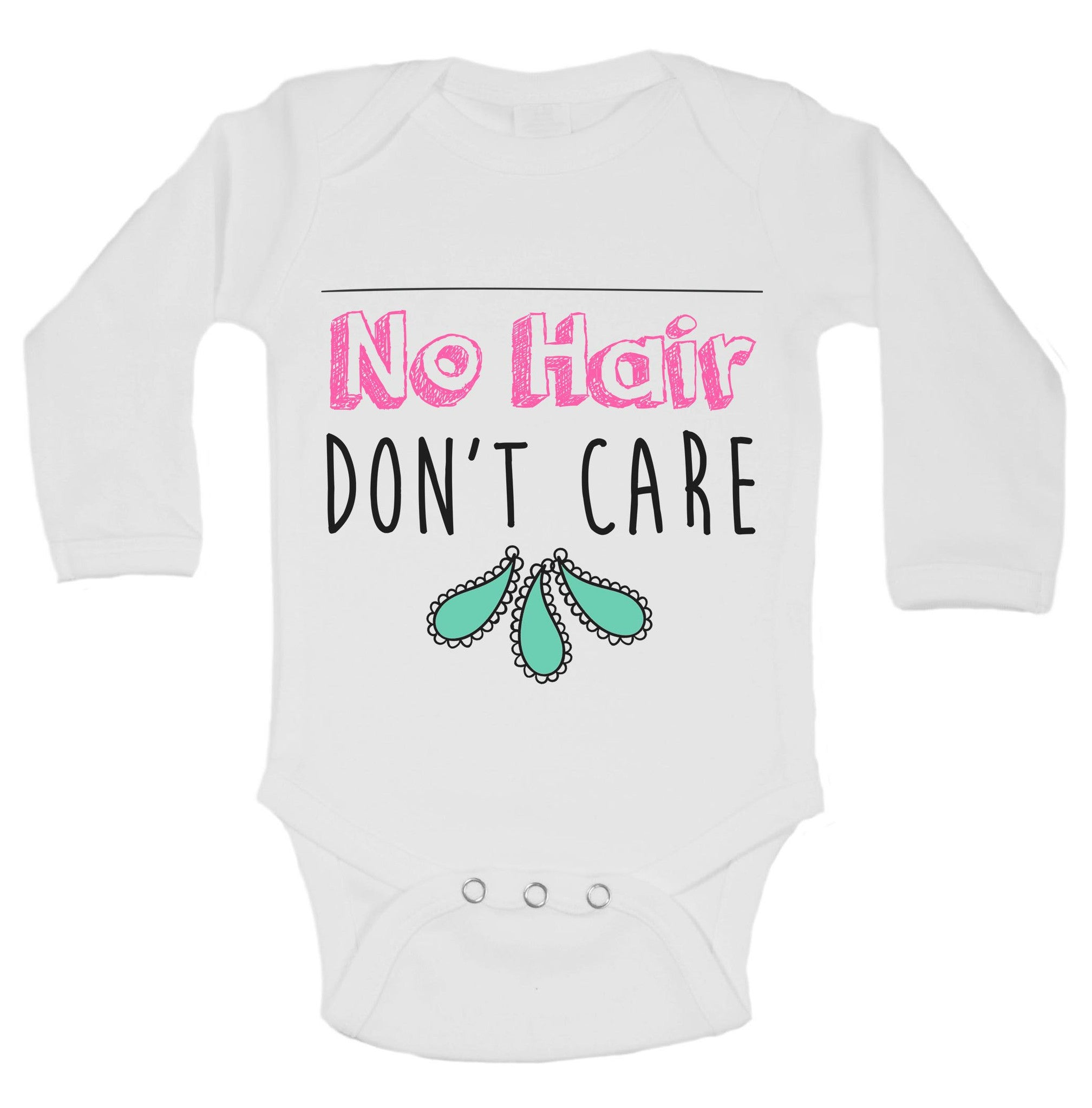 No Hair Don't Care Funny Kids Onesie - B147 - Funny Shirts Tank Tops Burnouts and Triblends  - 1