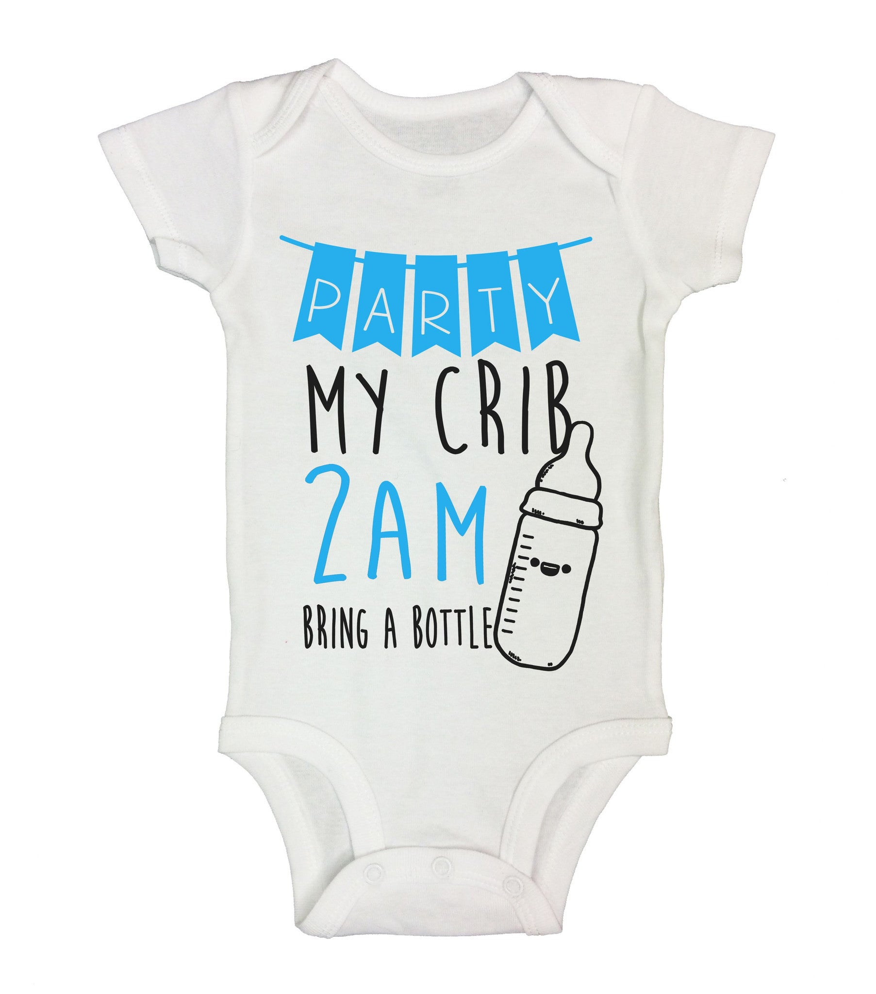 Party My Crib 2Am Bring A Bottle Funny Kids Onesie - B151 - Funny Shirts Tank Tops Burnouts and Triblends  - 2