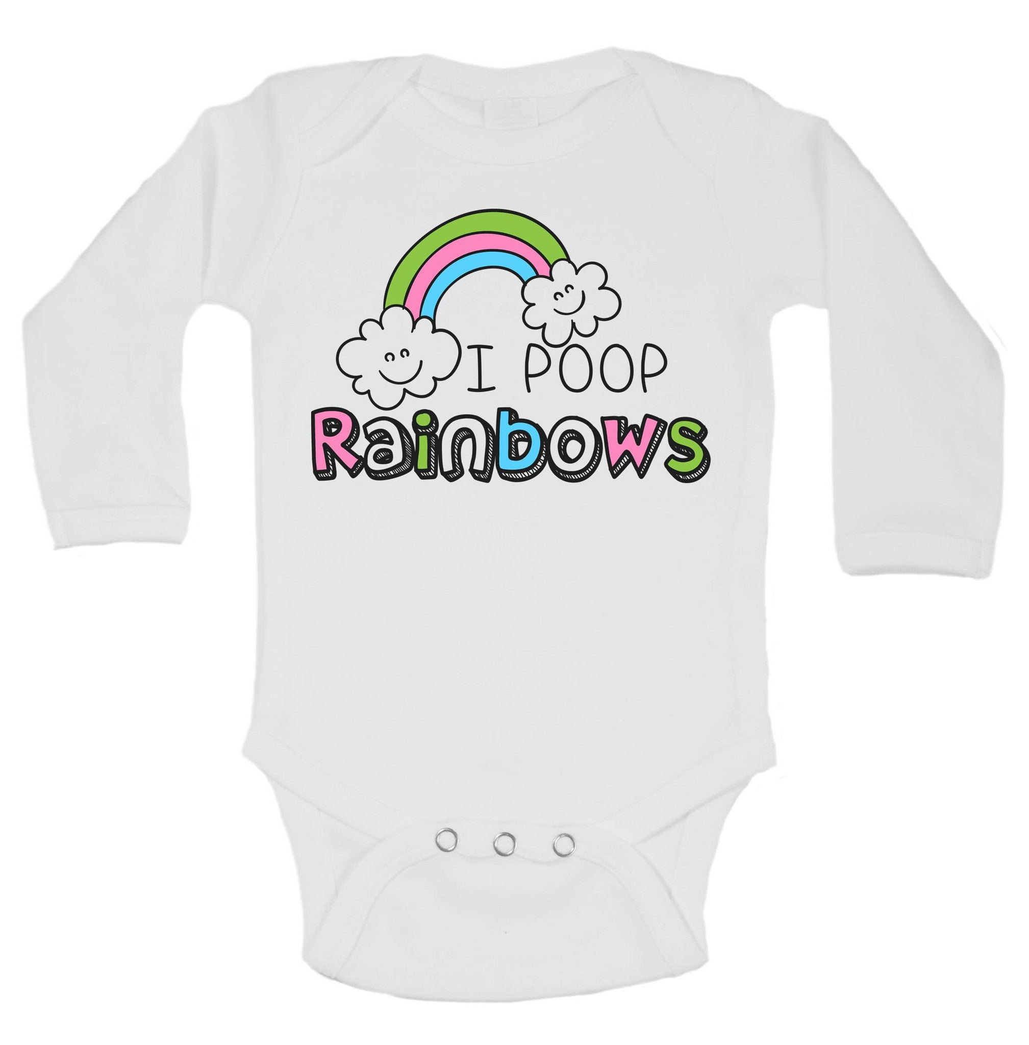 I Poop Rainbows Funny Kids Onesie - B155 - Funny Shirts Tank Tops Burnouts and Triblends  - 1