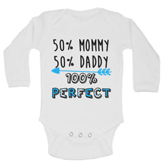 50% Mommy 50% Daddy 100% Perfect Funny Kids Onesie - B202 - Funny Shirts Tank Tops Burnouts and Triblends  - 1