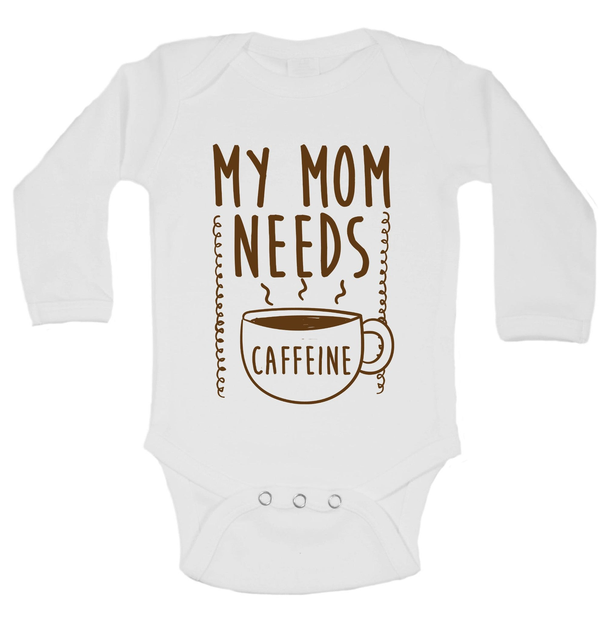 My Mom Needs Caffeine Funny Kids Onesie - B204 - Funny Shirts Tank Tops Burnouts and Triblends  - 1