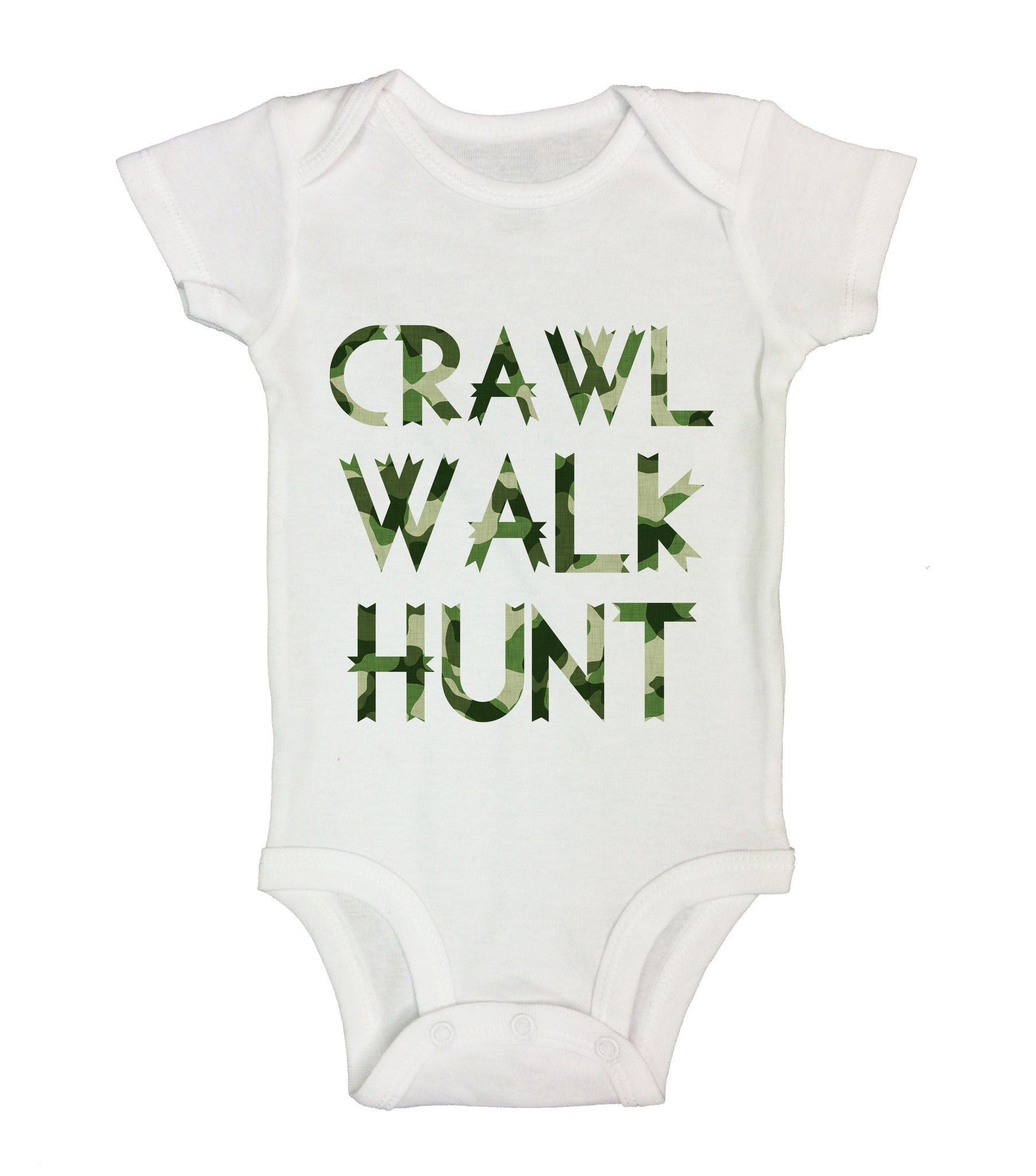 Crawl Walk Hunt Funny Kids Onesie - B206 - Funny Shirts Tank Tops Burnouts and Triblends  - 2
