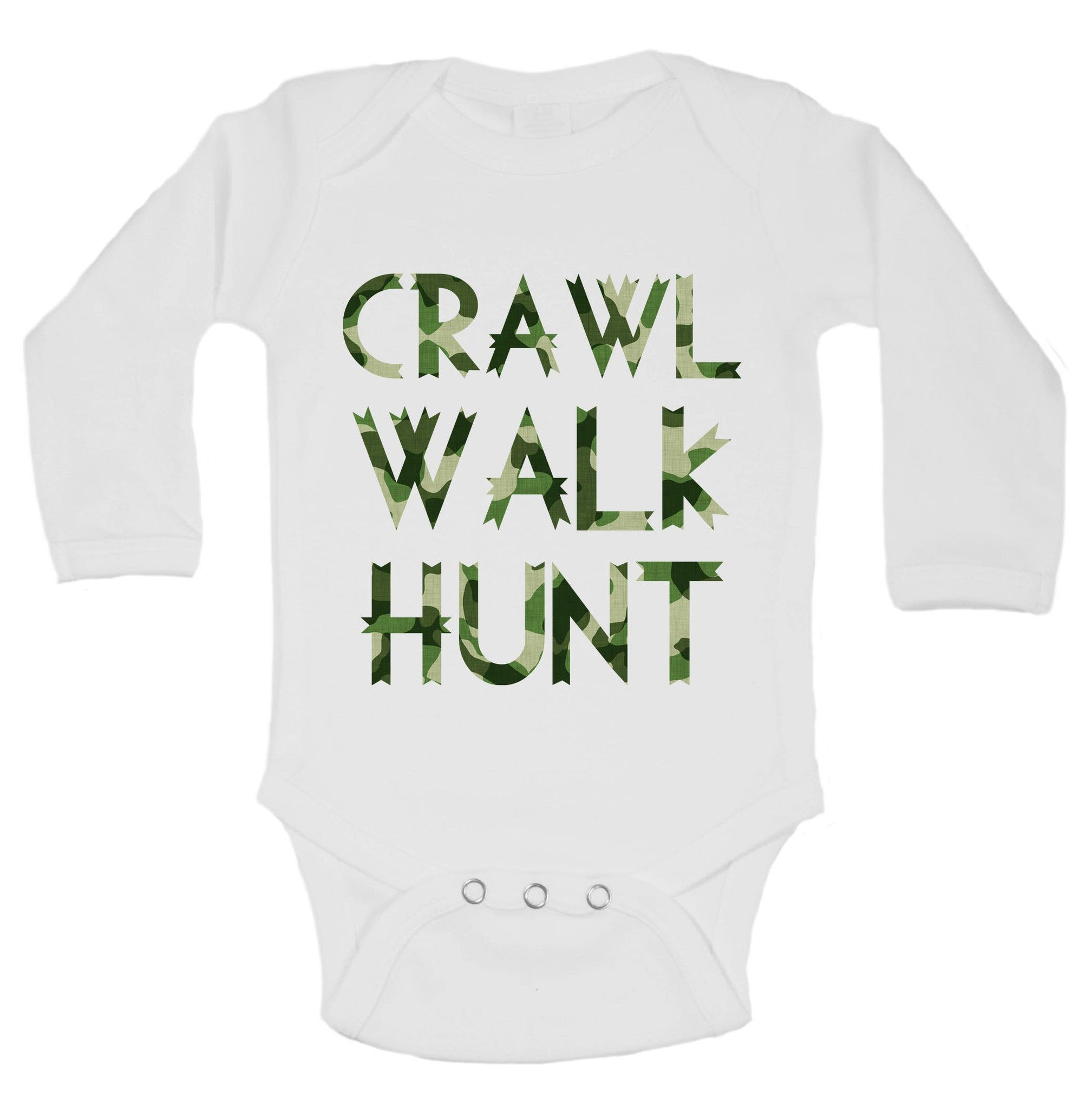Crawl Walk Hunt Funny Kids Onesie - B206 - Funny Shirts Tank Tops Burnouts and Triblends  - 1