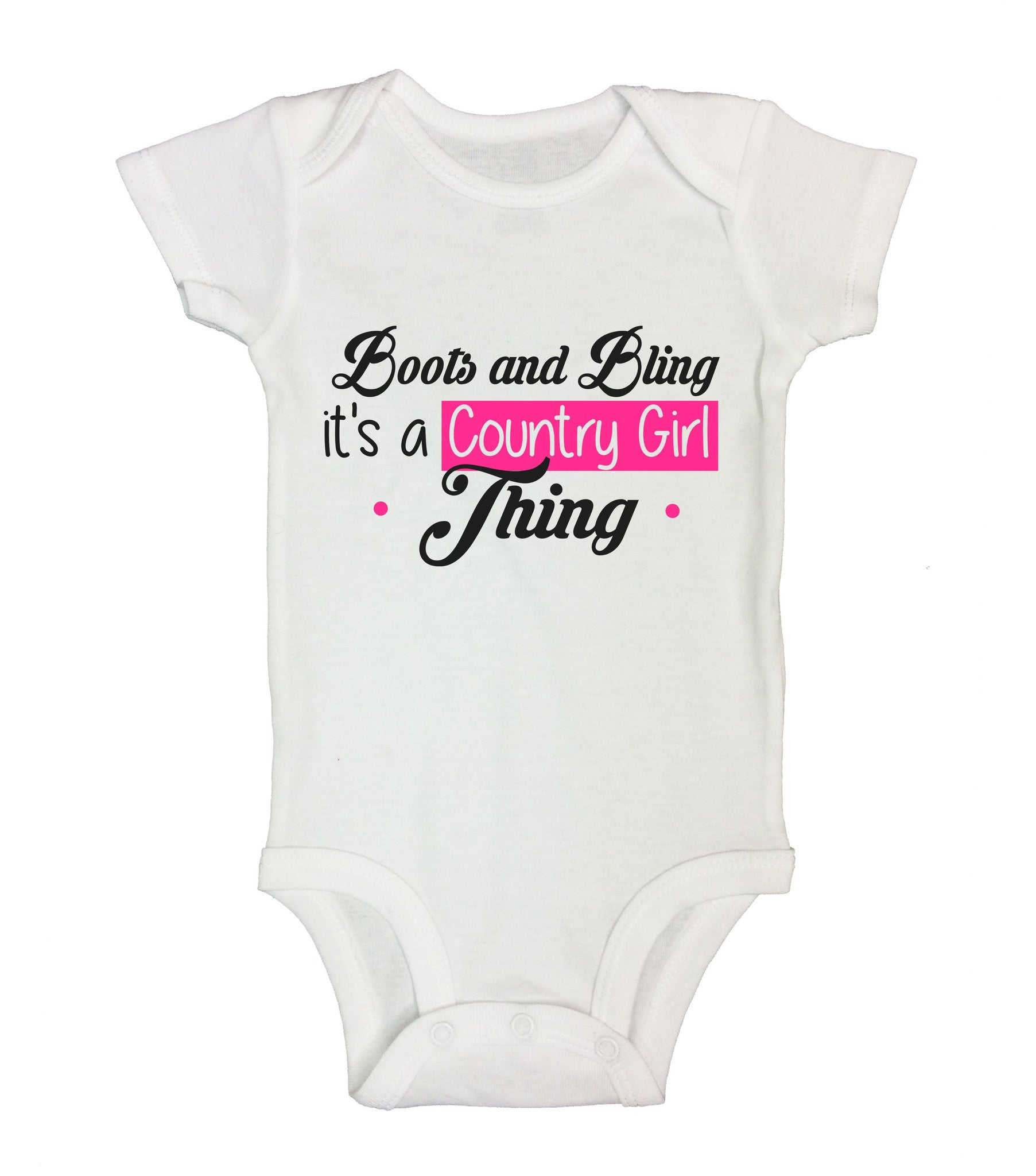 Boots And Bling It's A Country Girl Tring Funny Kids Onesie - B210 - Funny Shirts Tank Tops Burnouts and Triblends  - 2