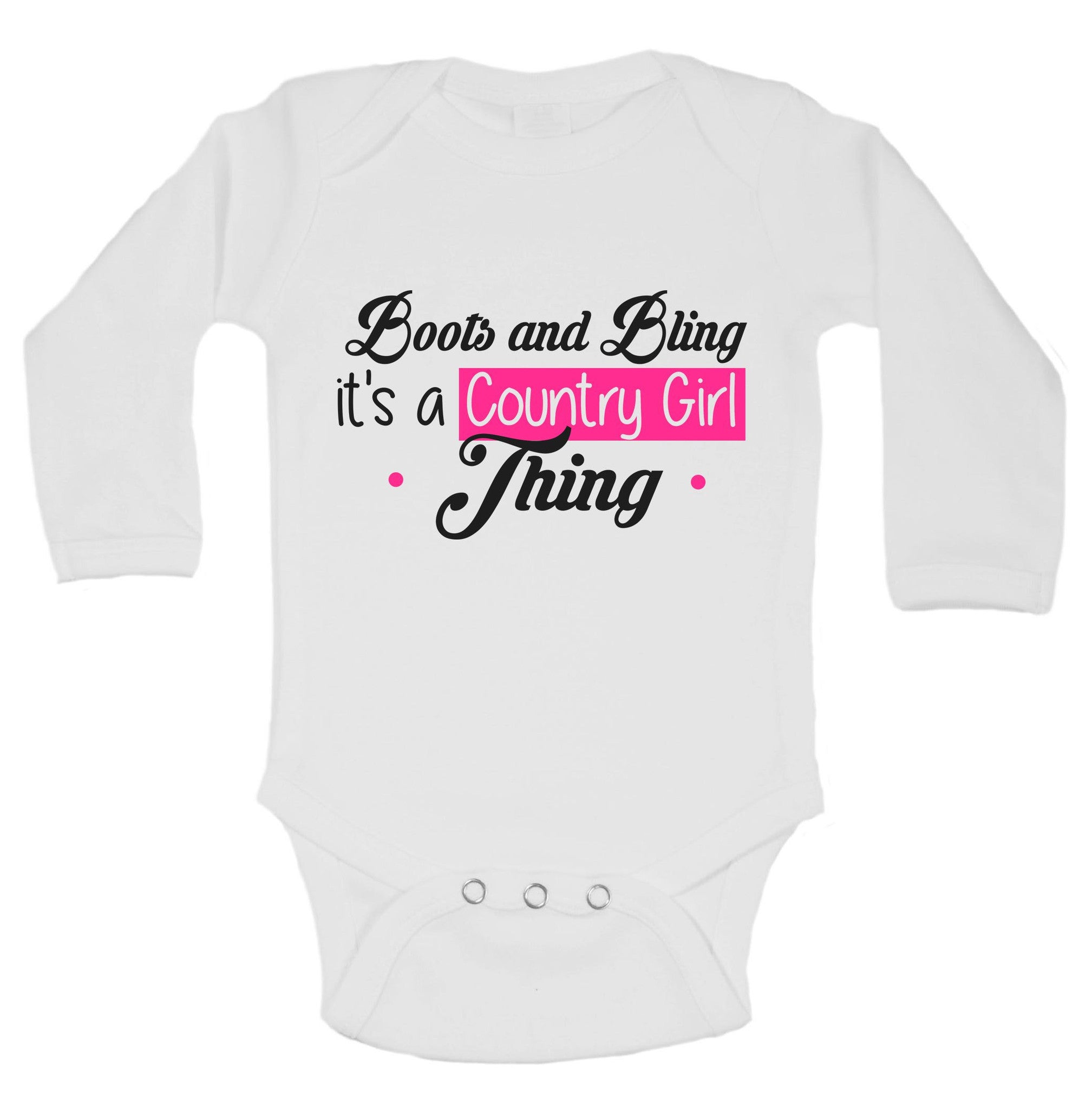 Boots And Bling It's A Country Girl Tring Funny Kids Onesie - B210 - Funny Shirts Tank Tops Burnouts and Triblends  - 1