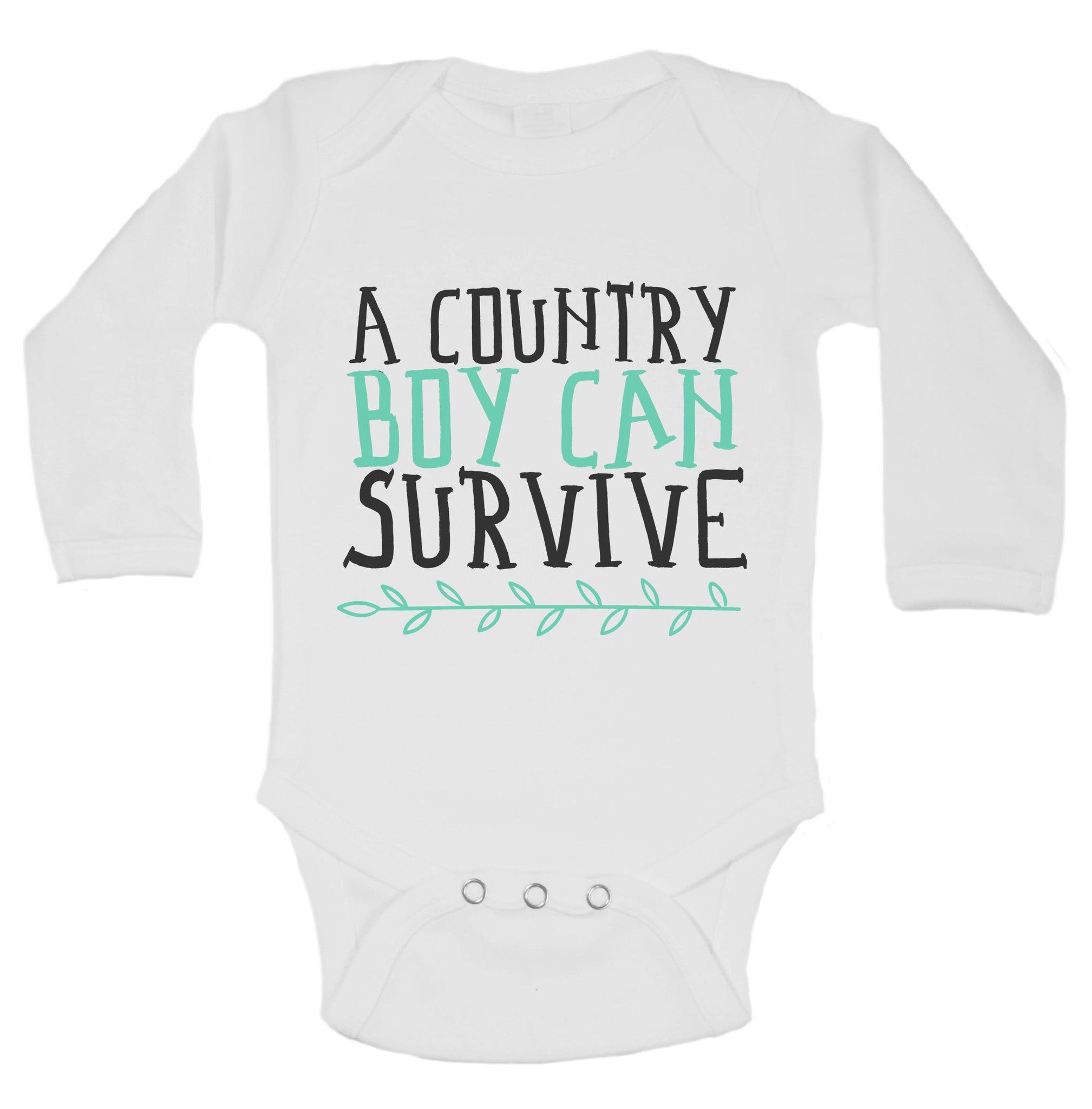 A Country Boy Can Survive Funny Kids Onesie - B214 - Funny Shirts Tank Tops Burnouts and Triblends  - 1