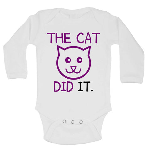 The Cat Did It Funny Kids Onesie - B220 - Funny Shirts Tank Tops Burnouts and Triblends  - 1