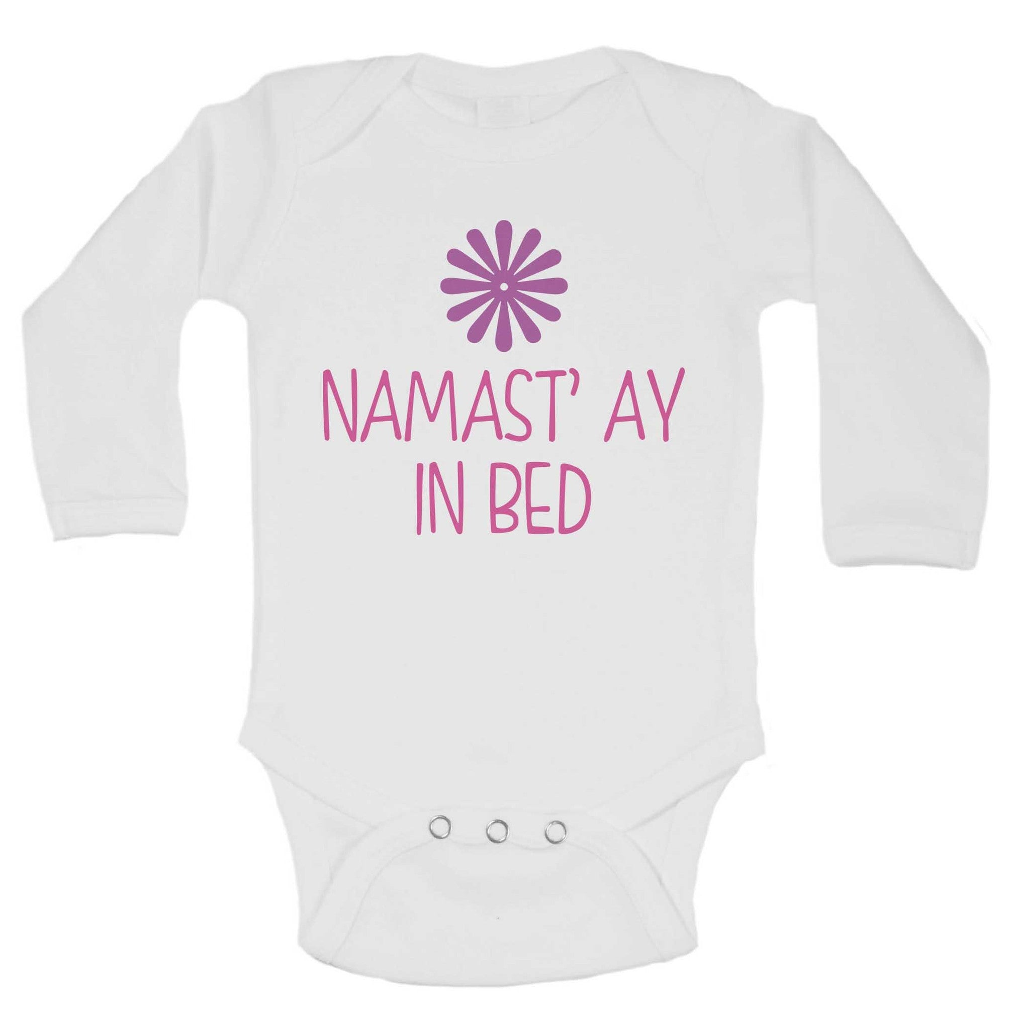 Namast' ay In Bed Funny Kids Onesie - B242 - Funny Shirts Tank Tops Burnouts and Triblends  - 1