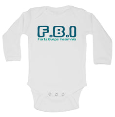 F.B.I Farts Burps Insomnia Funny Kids Onesie - B43 - Funny Shirts Tank Tops Burnouts and Triblends  - 1