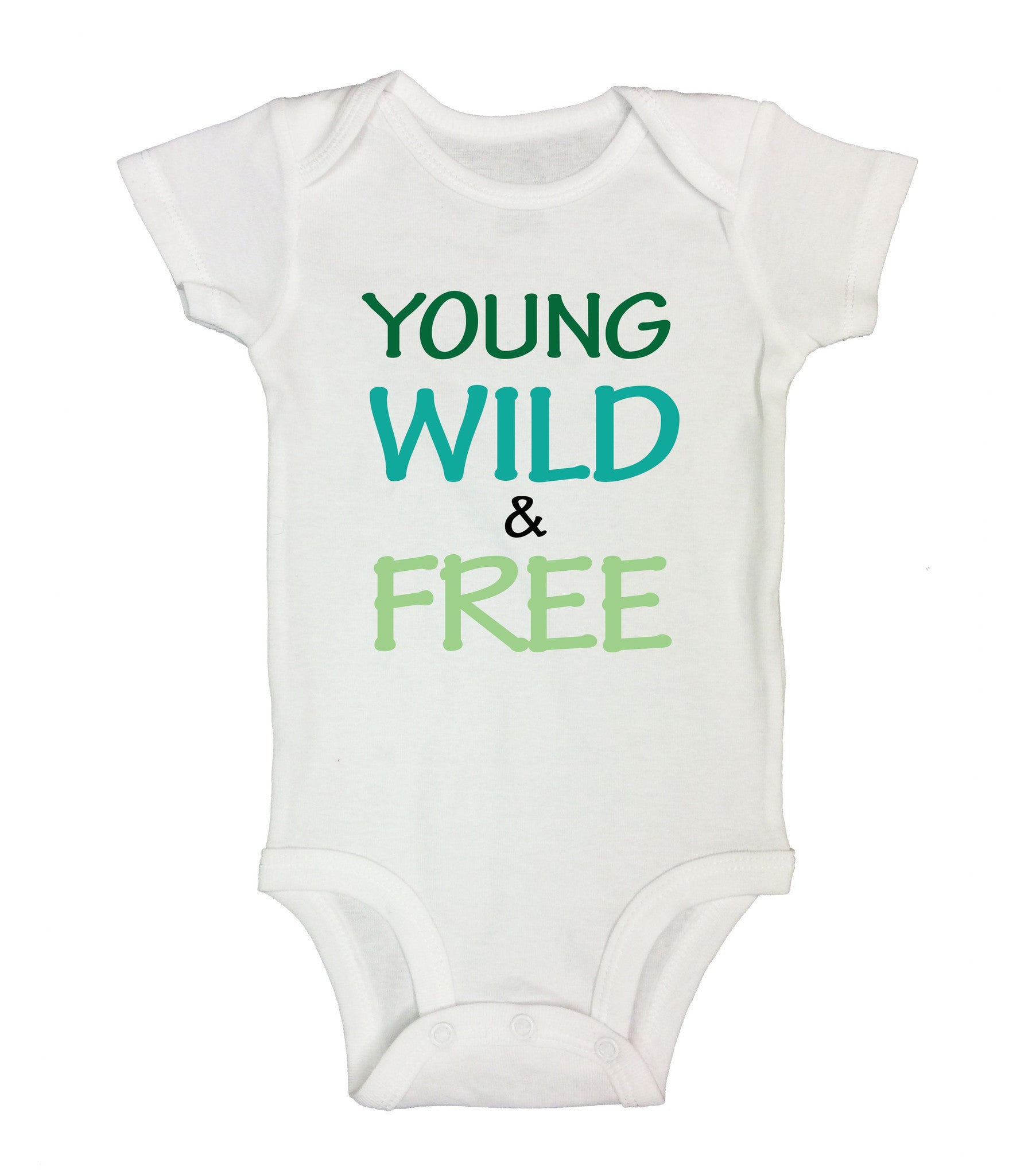 Young Wild & Free Funny Kids Onesie - B19 - Funny Shirts Tank Tops Burnouts and Triblends  - 2